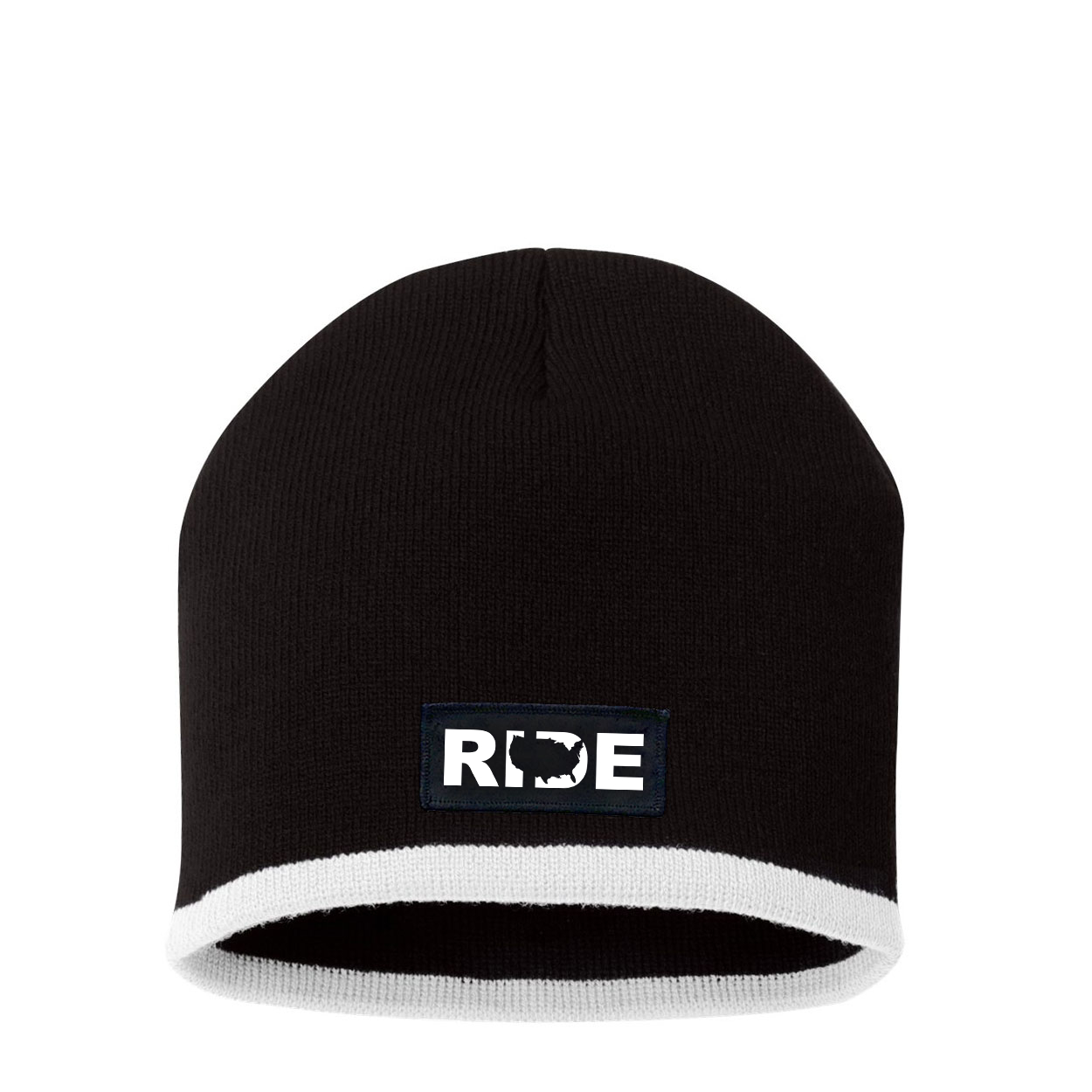 Ride United States Night Out Woven Patch Skully Beanie Black/White (White Logo)