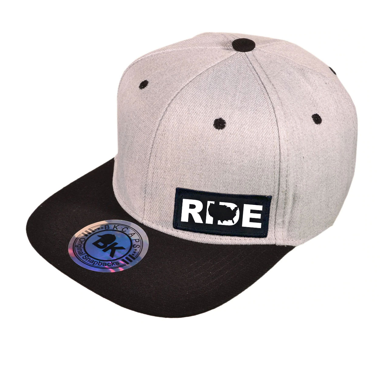 Ride United States Night Out Woven Patch Snapback Flat Brim Hat Heather Gray/Black (White Logo)