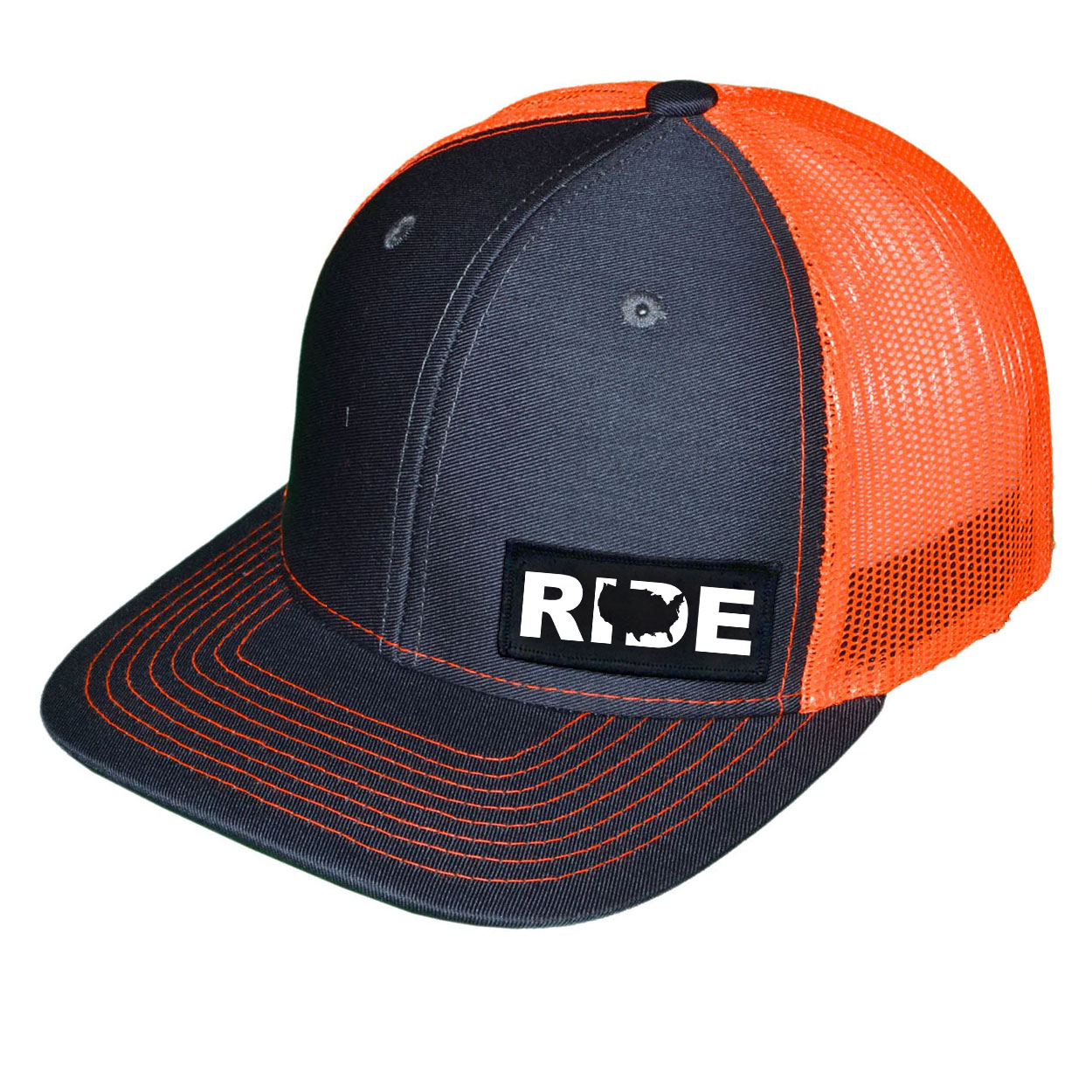 Ride United States Night Out Woven Patch Snapback Trucker Hat Dark Gray/Orange (White Logo)