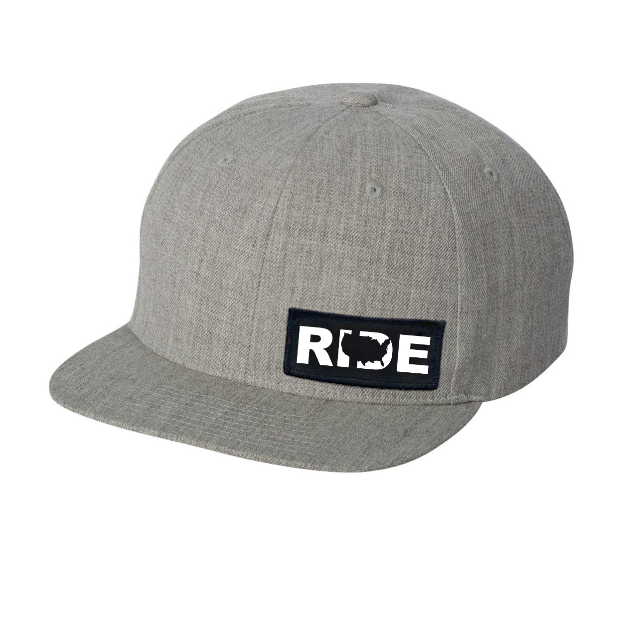 Ride United States Night Out Woven Patch Flat Brim Snapback Hat Heather Gray (White Logo)