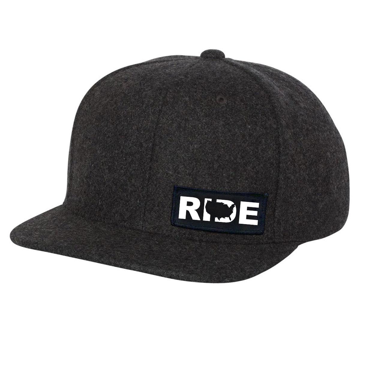 Ride United States Night Out Woven Patch Flat Brim Snapback Hat Dark Heather Gray Wool (White Logo)