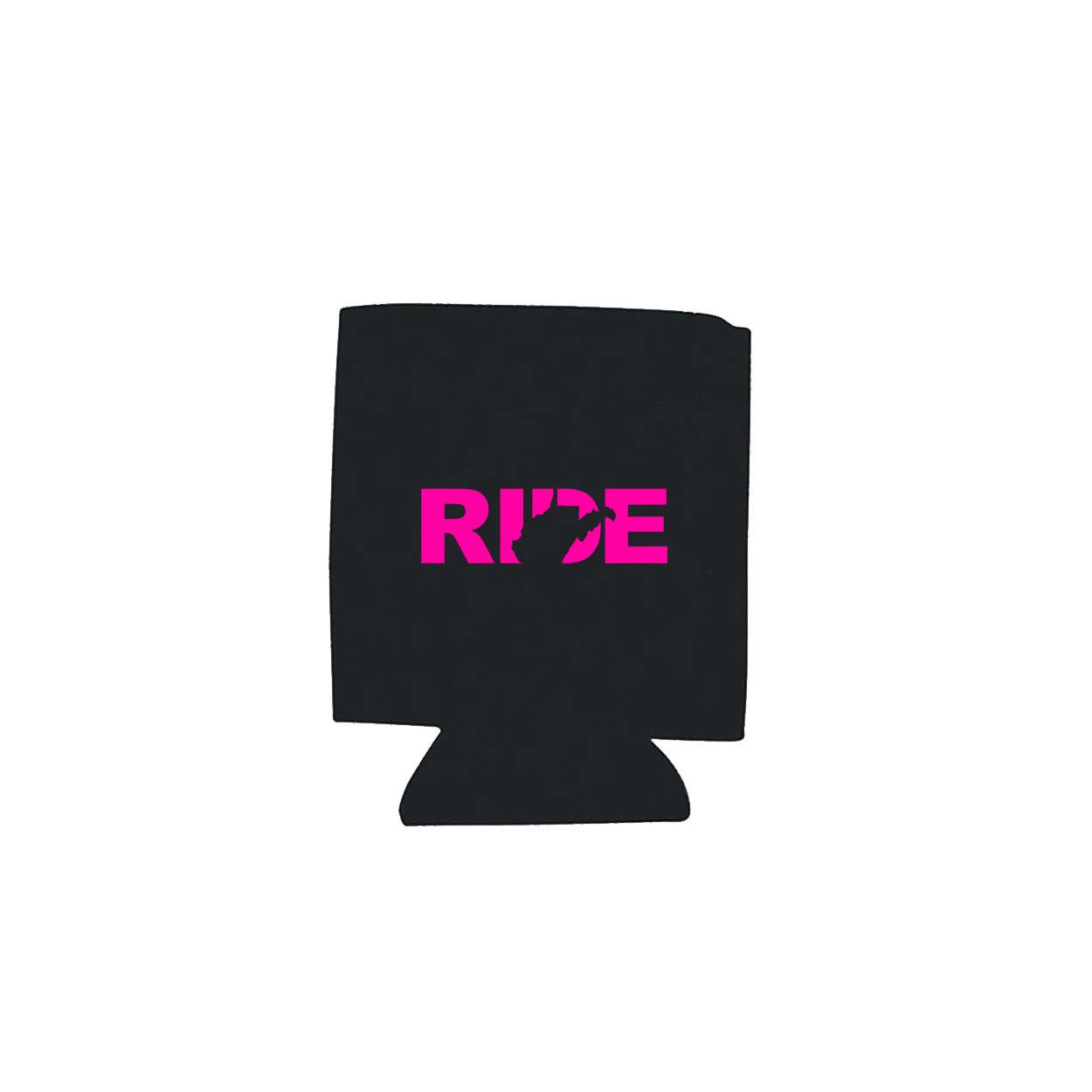 Ride West Virginia Koozie Black (Pink Logo)