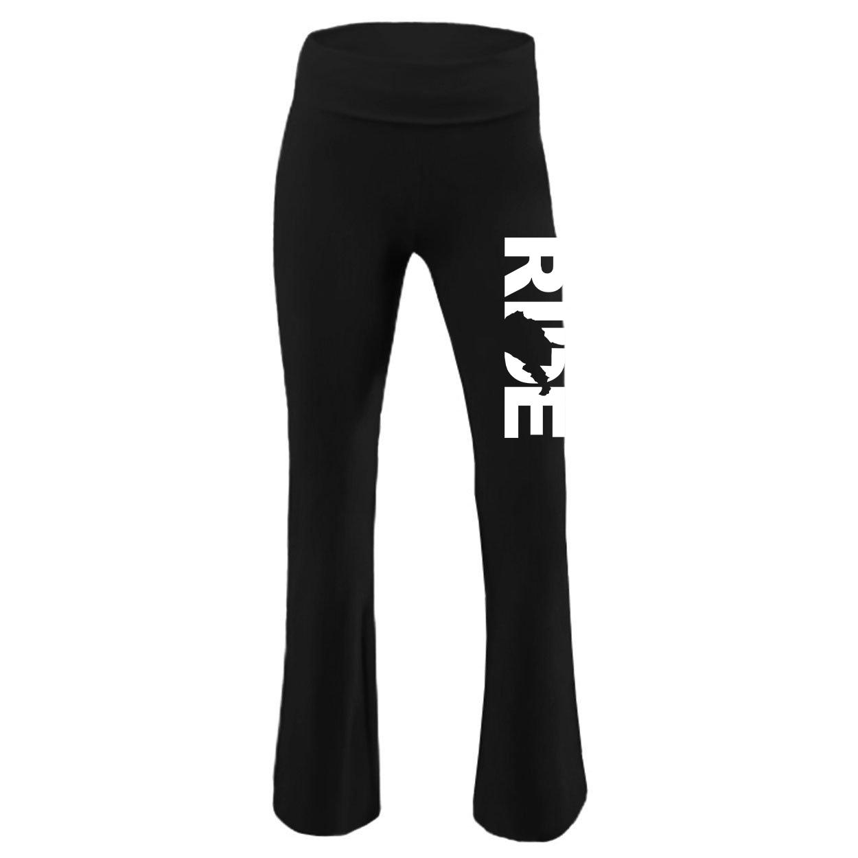 Ride West Virginia Classic Youth Girls Yoga Pants Black (White Logo)
