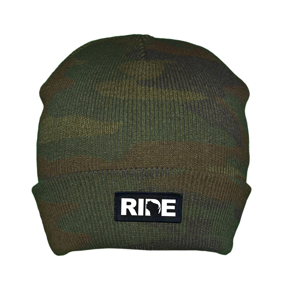 Ride Wisconsin Night Out Woven Patch Roll Up Skully Beanie Camo (White Logo)