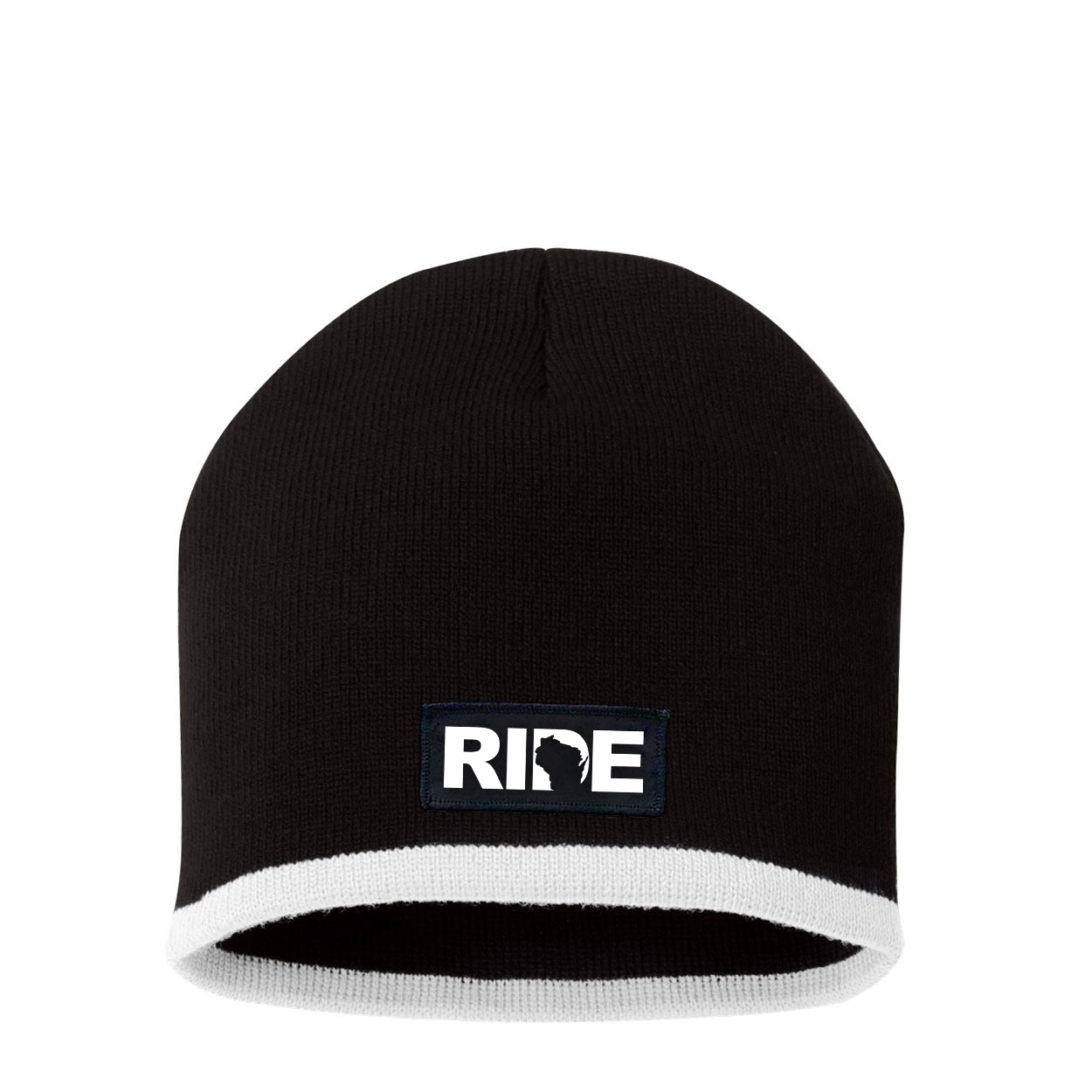 Ride Wisconsin Night Out Woven Patch Skully Beanie Black/White (White Logo)