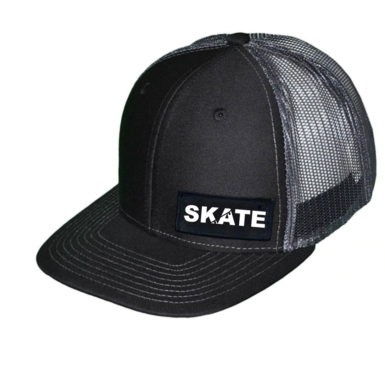 Skate Ollie Skateboard Logo Night Out Woven Patch Snapback Trucker Hat Black/Dark Gray (White Logo)