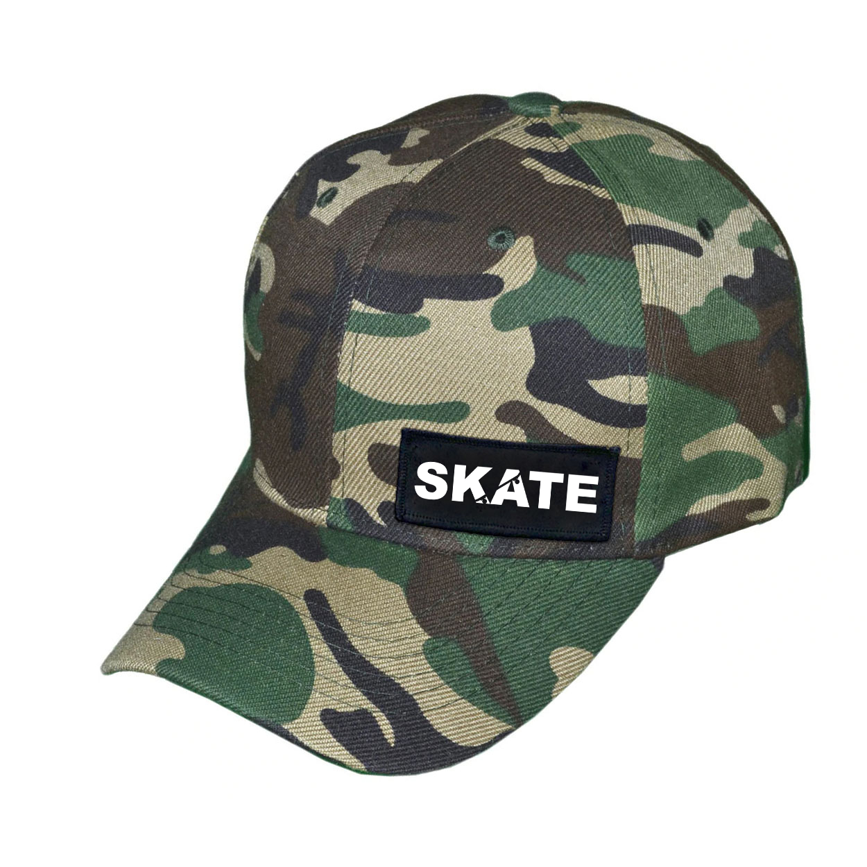 Skate Ollie Skateboard Logo Night Out Woven Patch Hat Camo (White Logo)