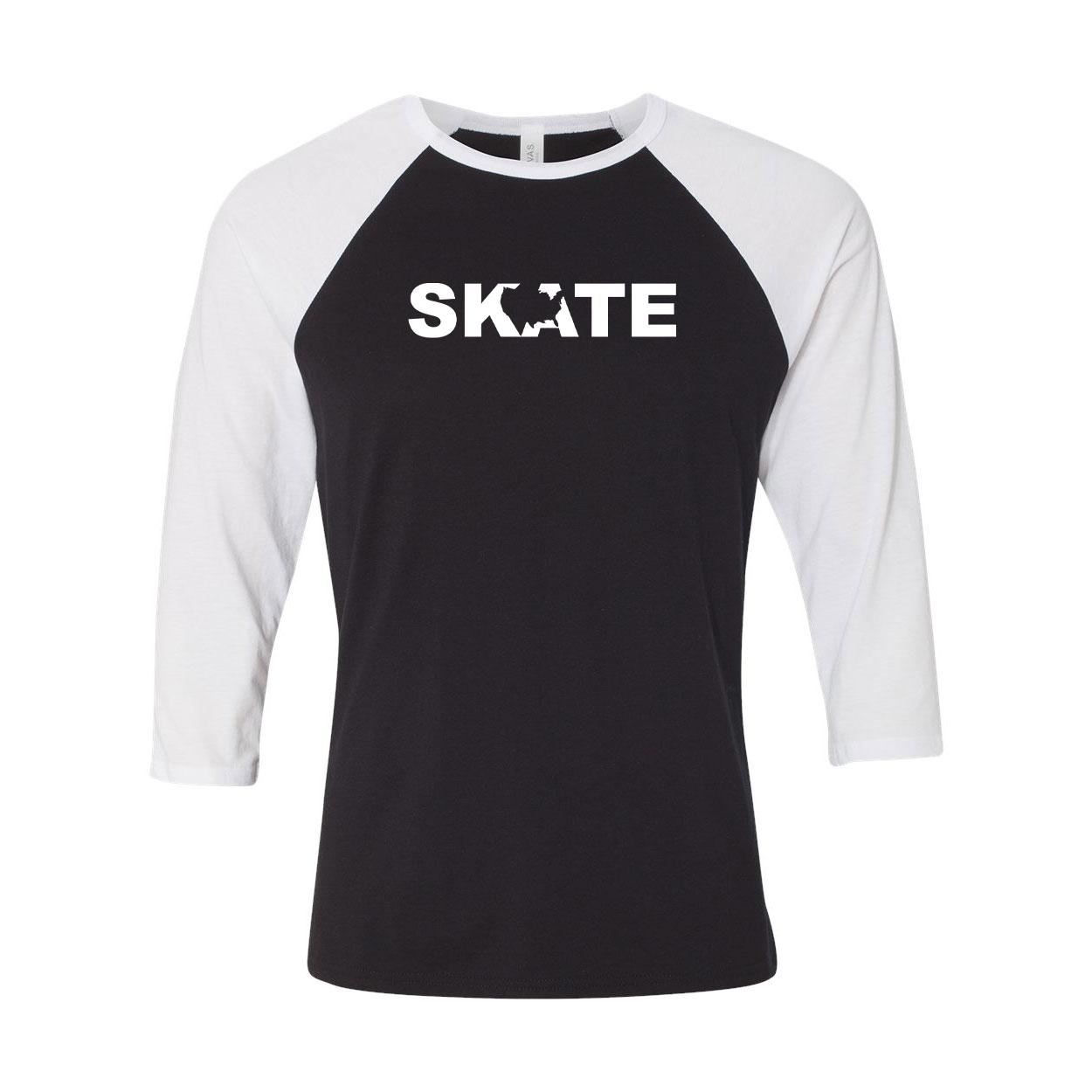 Skate United States Classic Raglan Shirt Black/White (White Logo)
