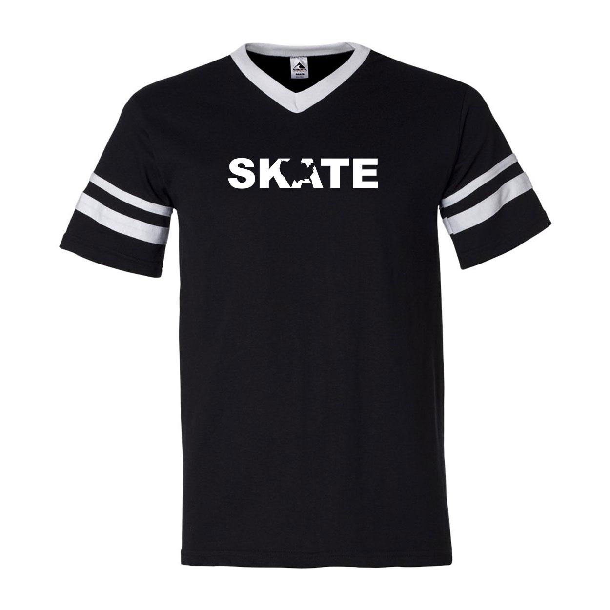 Skate United States Classic Premium Striped Jersey T-Shirt Black/White (White Logo)