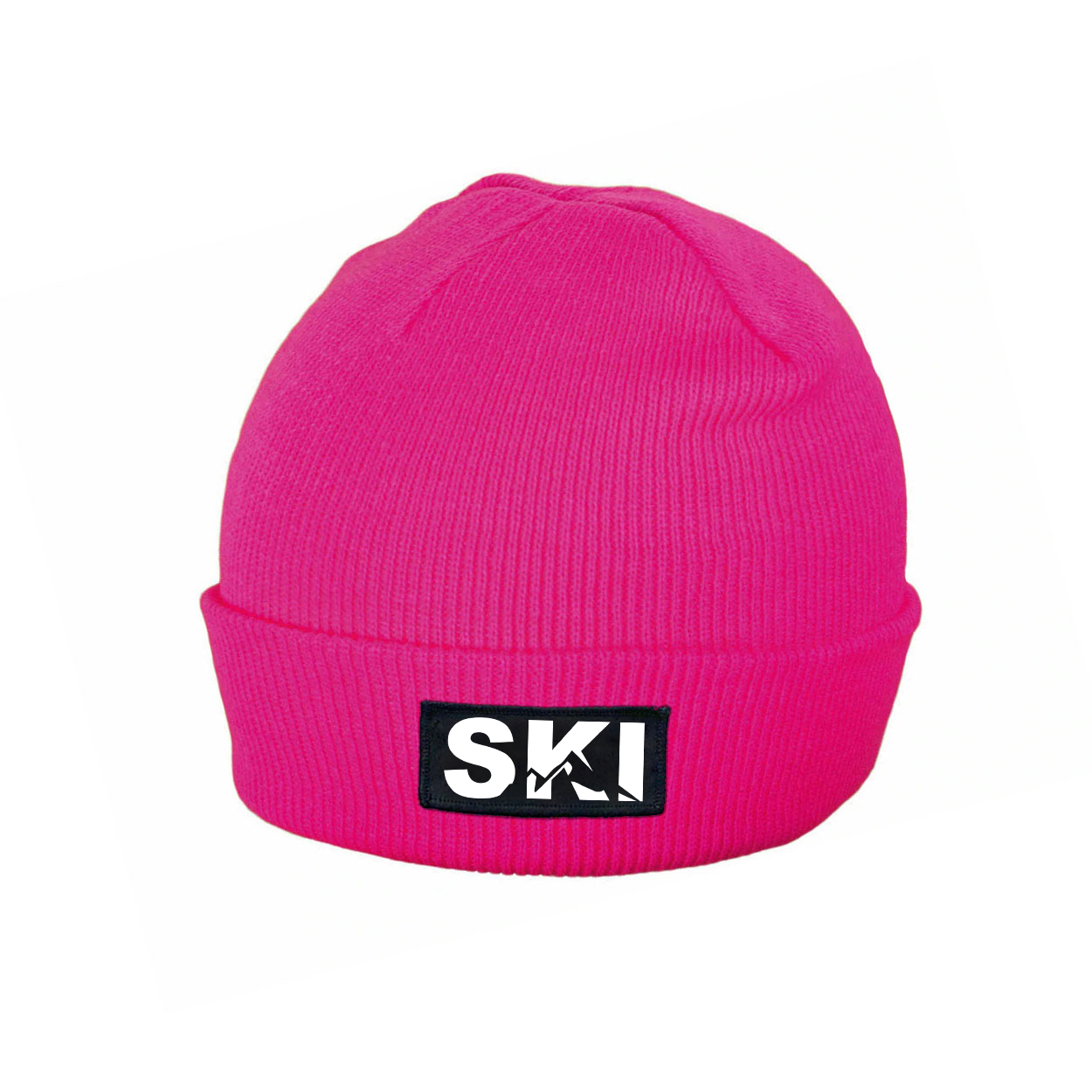 Ski Mountain Logo Night Out Woven Patch Roll Up Skully Beanie Heather Fuchsia (White Logo)