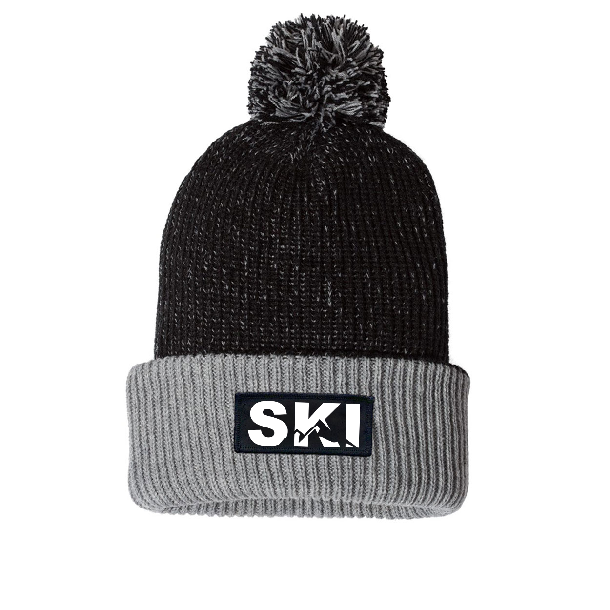 Ski Mountain Logo Night Out Woven Patch Roll Up Pom Knit Beanie Black/Gray (White Logo)