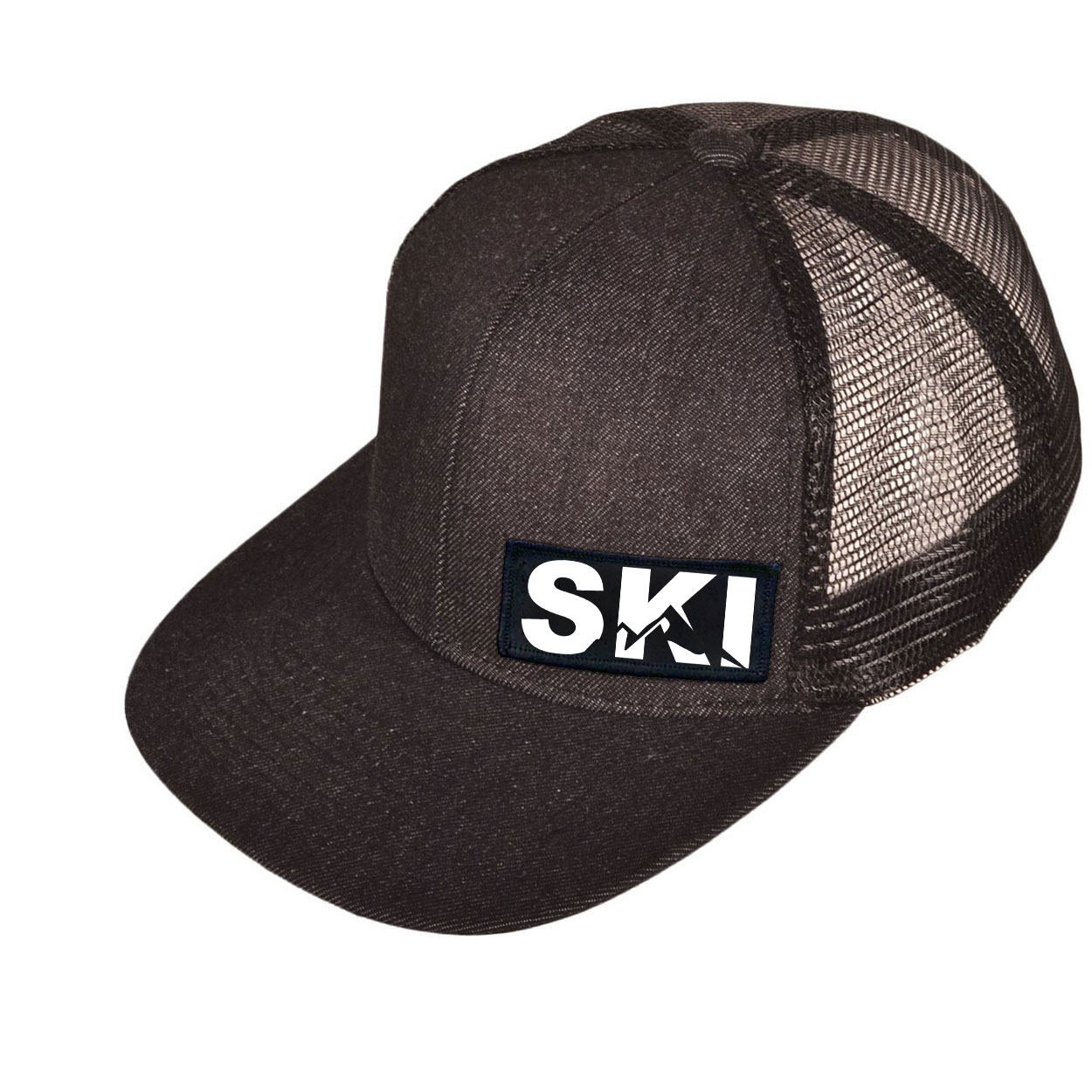 Ski Mountain Logo Night Out Woven Patch Snapback Flat Brim Hat Black Denim (White Logo)