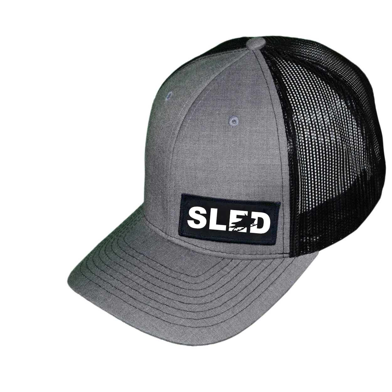 Sled Snowmobile Logo Night Out Woven Patch Snapback Trucker Hat Heather Gray/Black (White Logo)