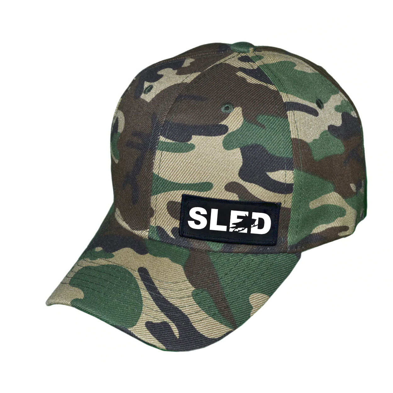 Sled Snowmobile Logo Night Out Woven Patch Hat Camo (White Logo)