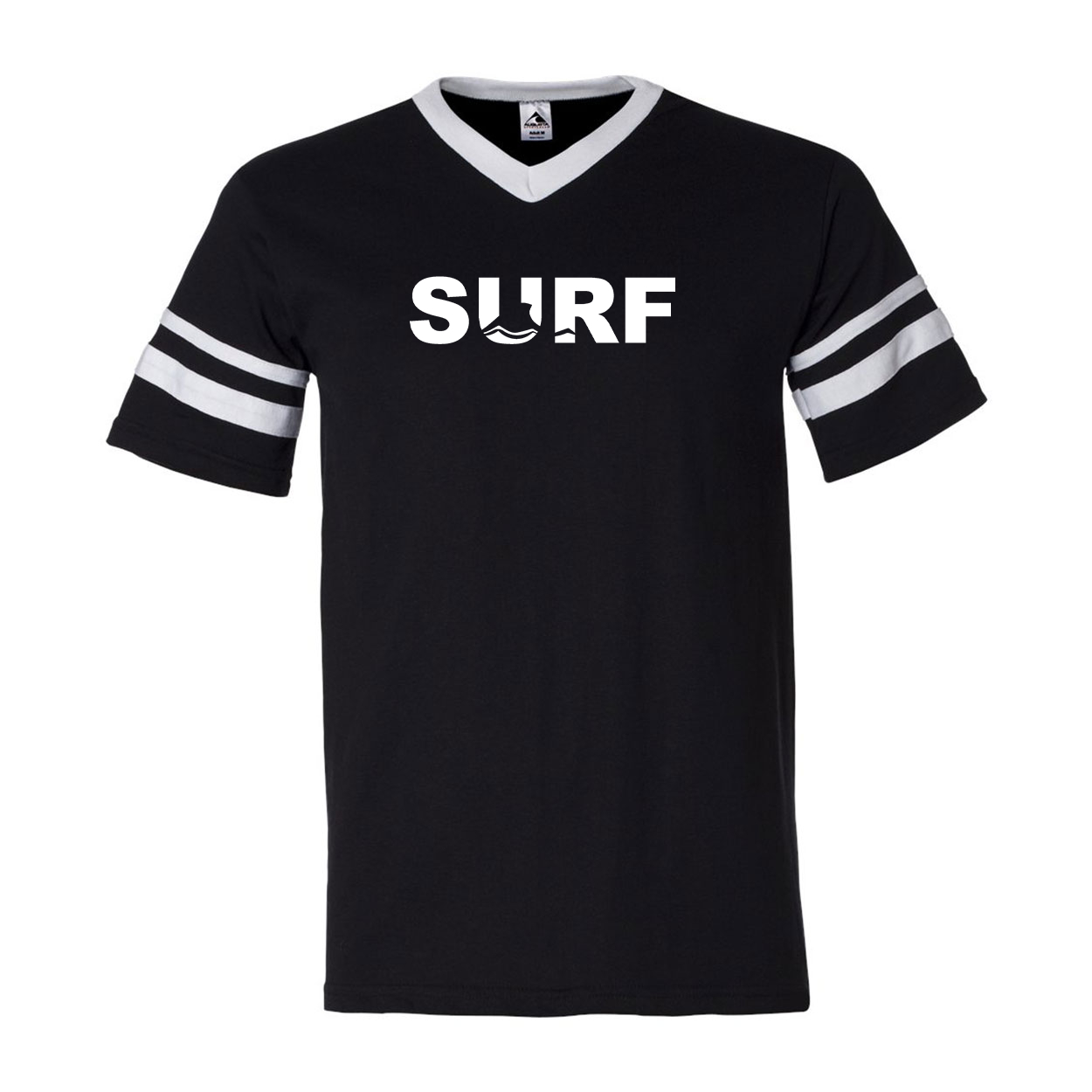 Surf Wave Logo Classic Premium Striped Jersey T-Shirt Black/White (White Logo)