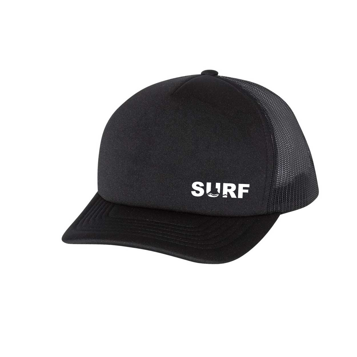 Surf Wave Logo Night Out Premium Foam Trucker Snapback Hat Black (White Logo)