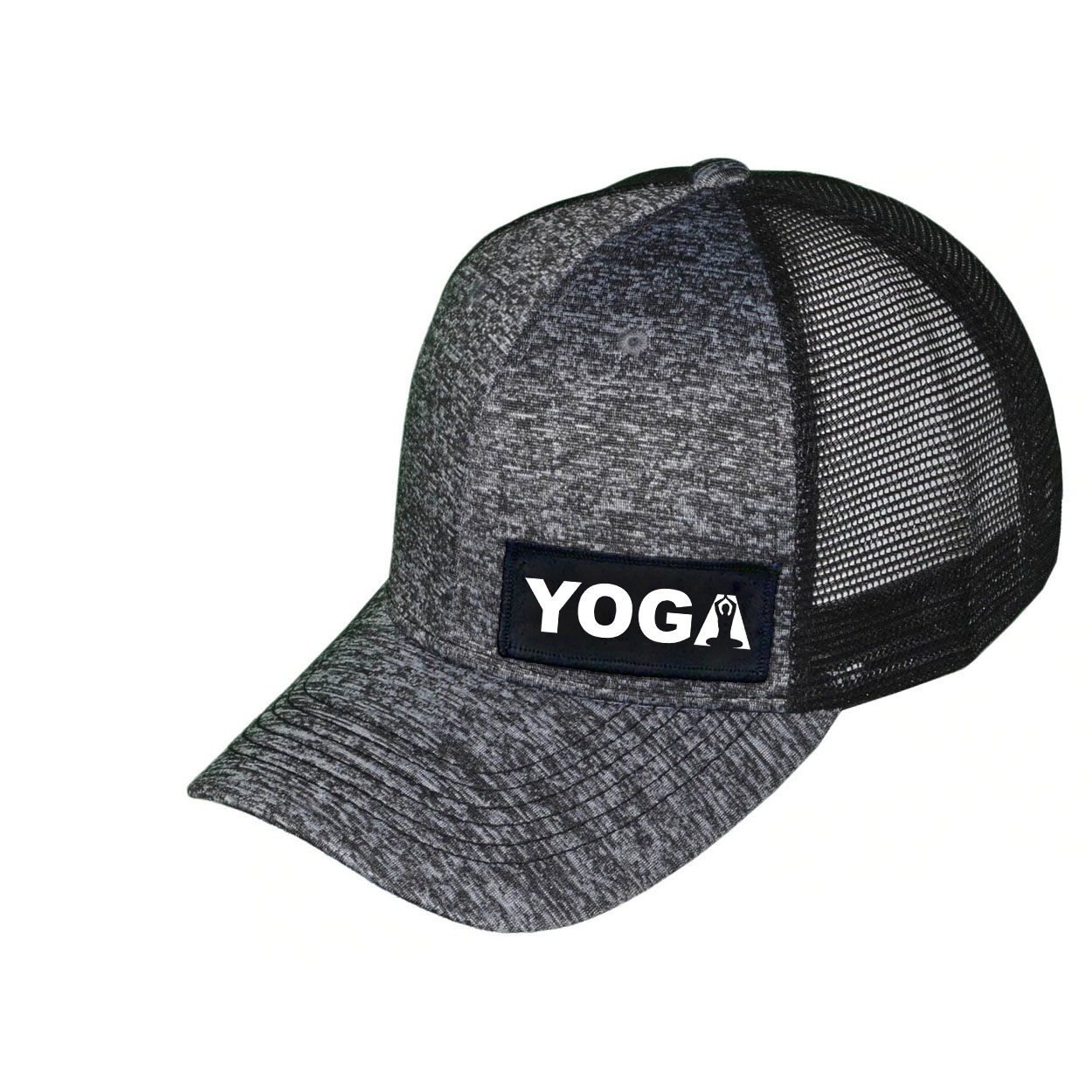 Yoga Meditation Logo Night Out Woven Patch Melange Snapback Trucker Hat Gray/Black (White Logo)