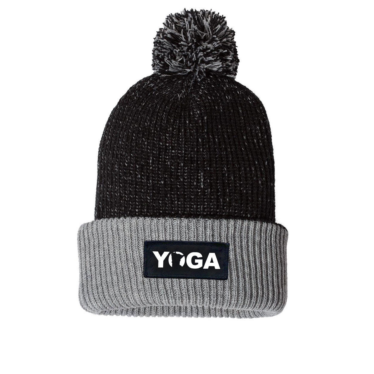 Yoga Minnesota Night Out Woven Patch Roll Up Pom Knit Beanie Black/Gray (White Logo)
