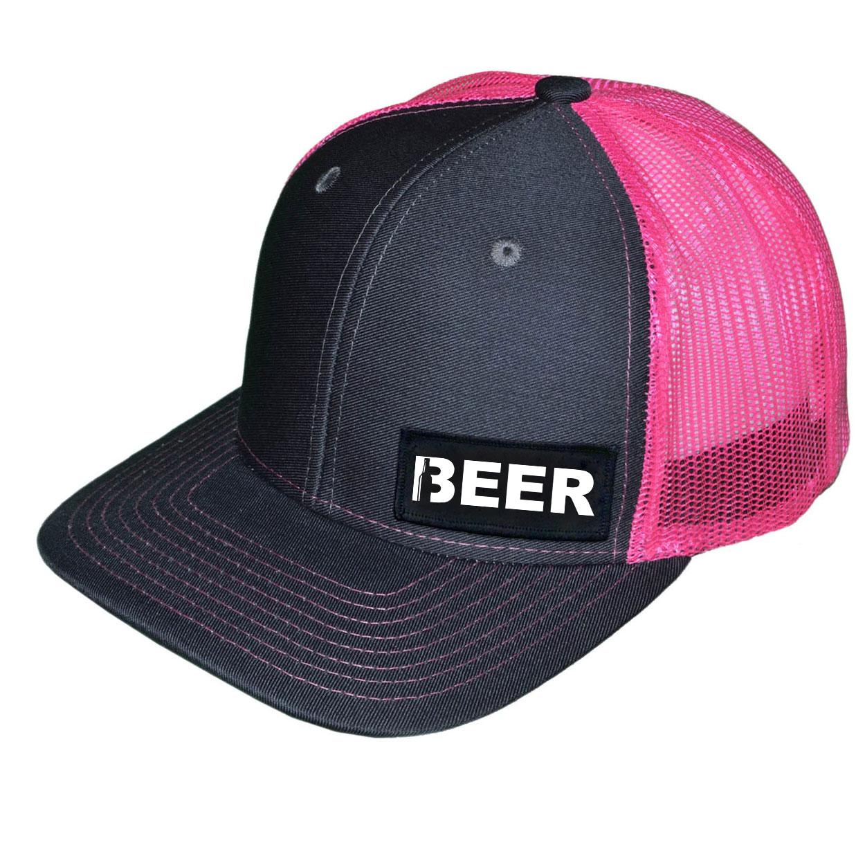 Beer Bottle Logo Night Out Woven Patch Snapback Trucker Hat Dark Gray/Neon Pink (White Logo)
