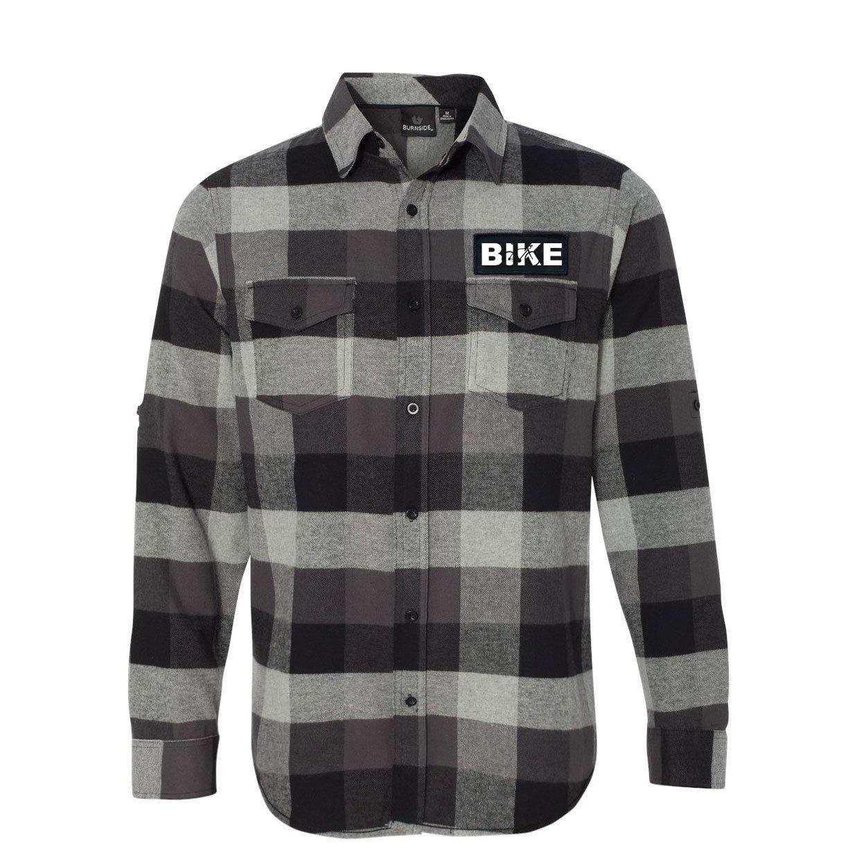 Bike Cycling Logo Classic Unisex Long Sleeve Woven Patch Flannel Shirt Black/Gray (White Logo)