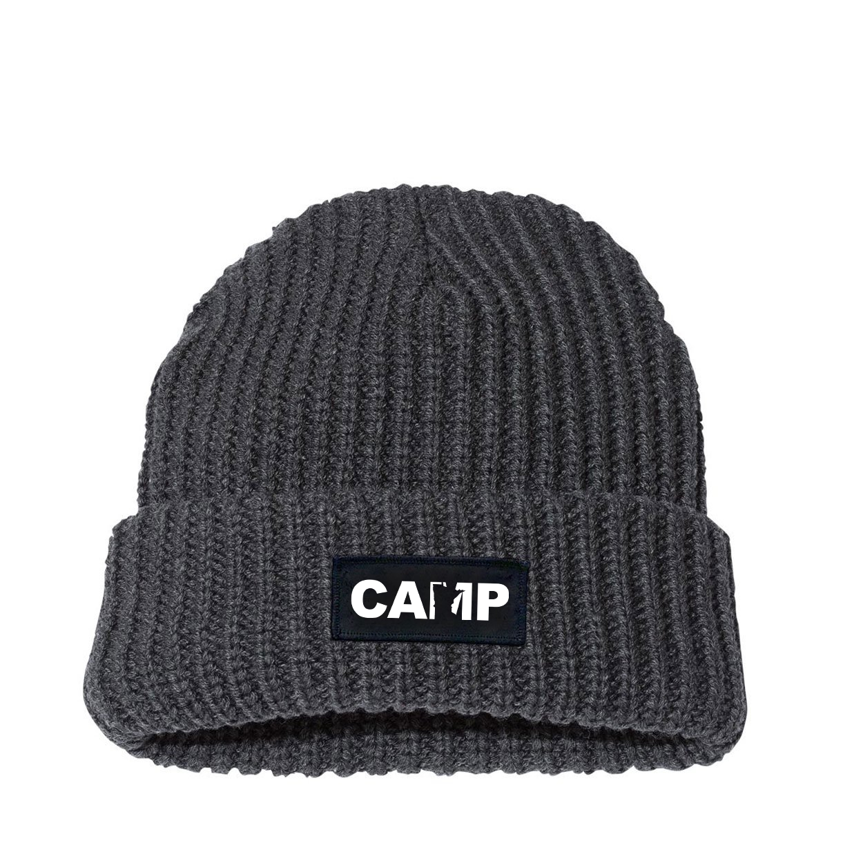 Camp Minnesota Night Out Woven Patch Roll Up Jumbo Chunky Knit Beanie Charcoal (White Logo)