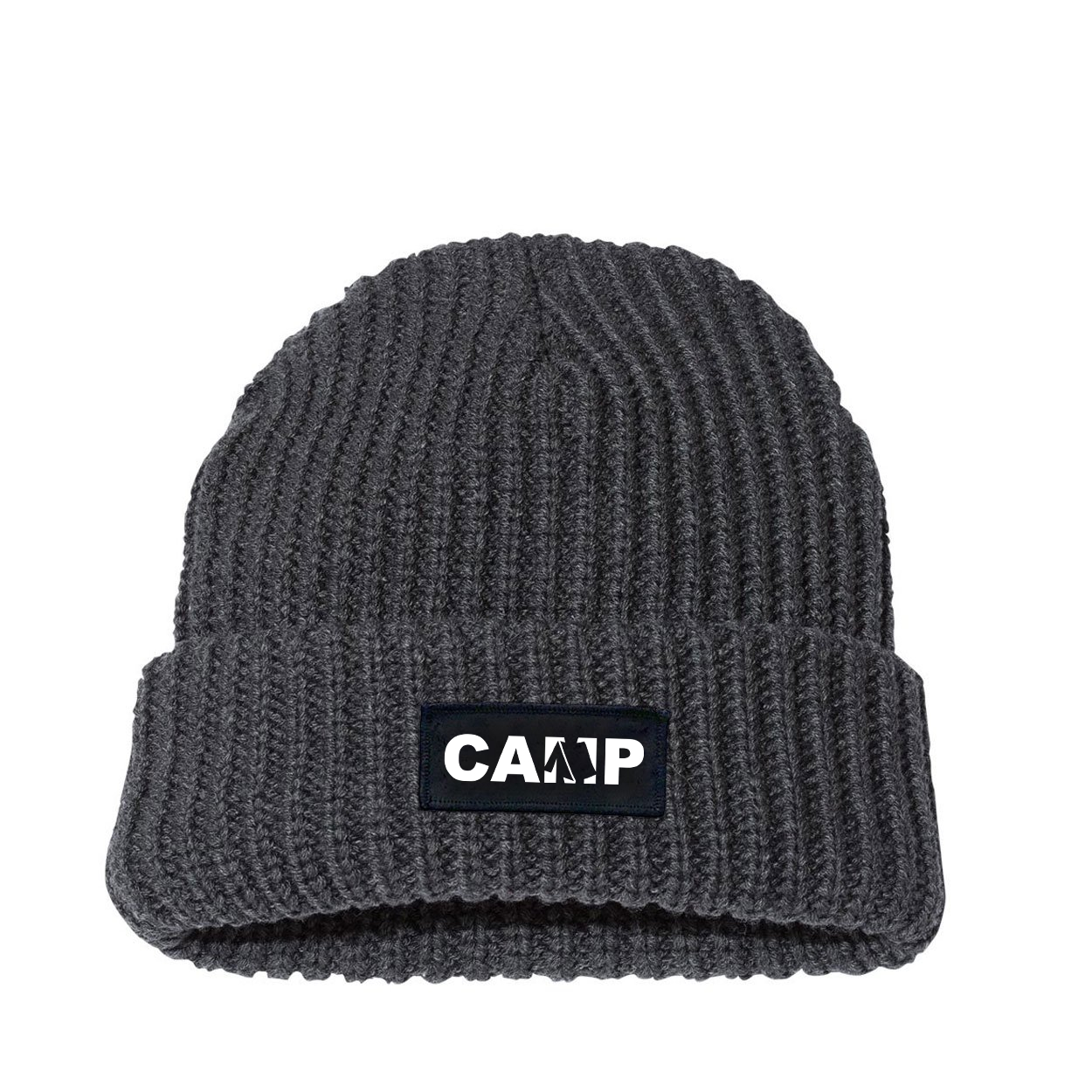 Camp Tent Logo Night Out Woven Patch Roll Up Jumbo Chunky Knit Beanie Charcoal (White Logo)