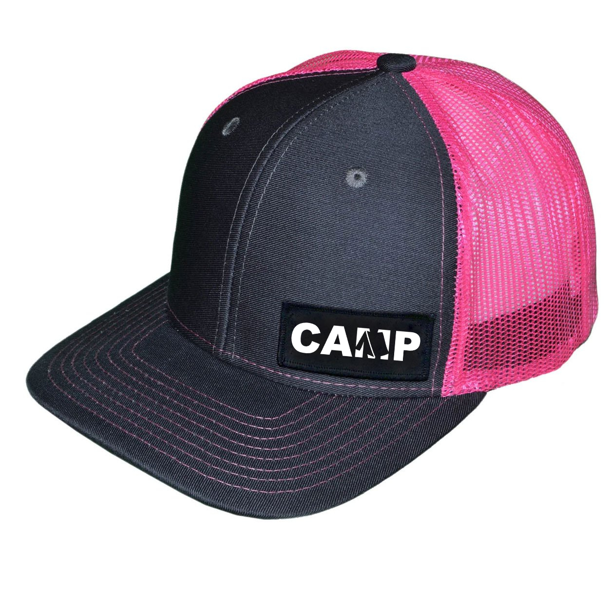 Camp Tent Logo Night Out Woven Patch Snapback Trucker Hat Dark Gray/Neon Pink (White Logo)