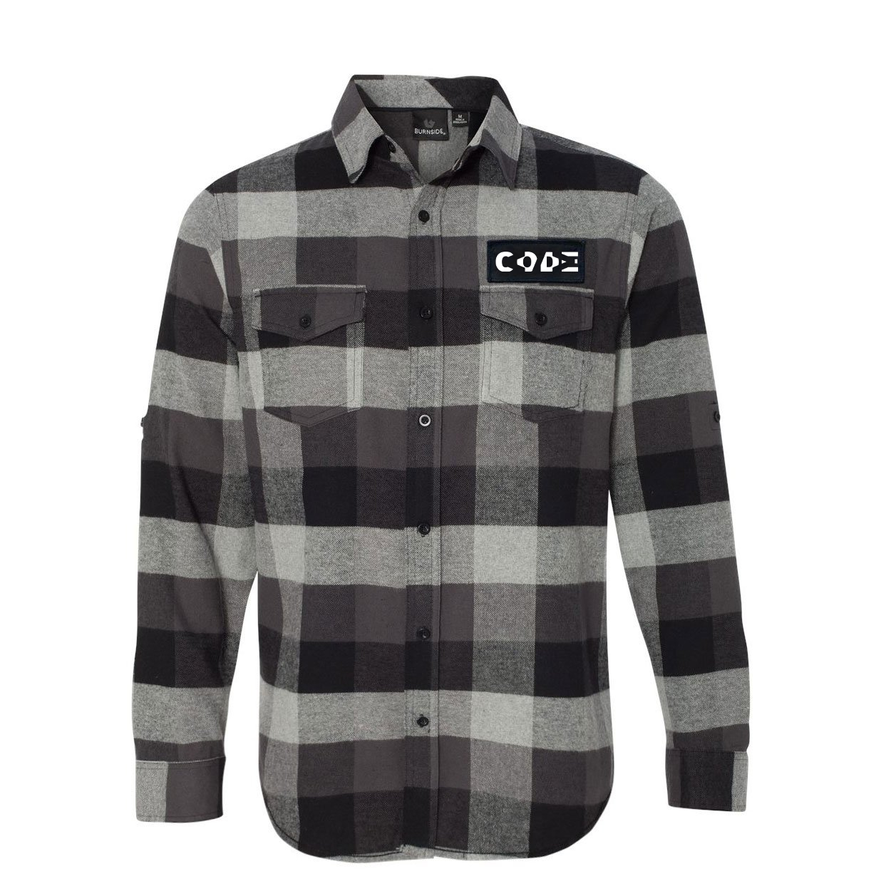 Code Tag Logo Classic Unisex Long Sleeve Woven Patch Flannel Shirt Black/Gray (White Logo)