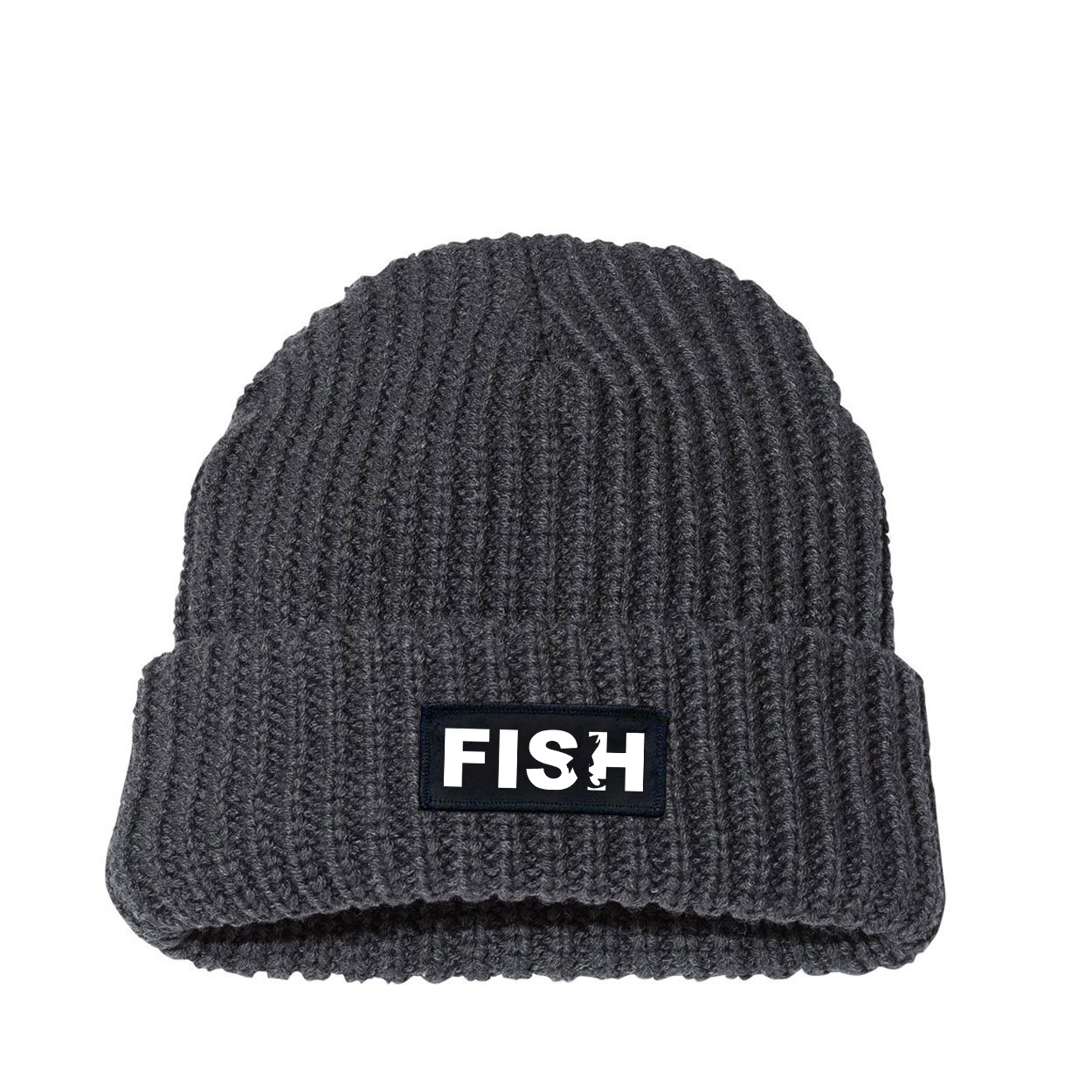 Fish Catch Logo Night Out Woven Patch Roll Up Jumbo Chunky Knit Beanie Charcoal (White Logo)