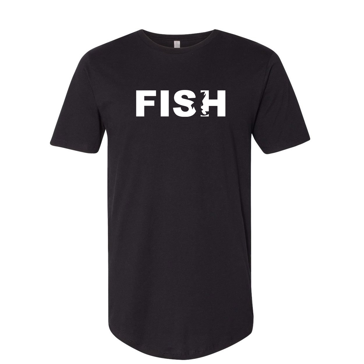 Fish Catch Logo Classic Premium Tall T-Shirt Black (White Logo)