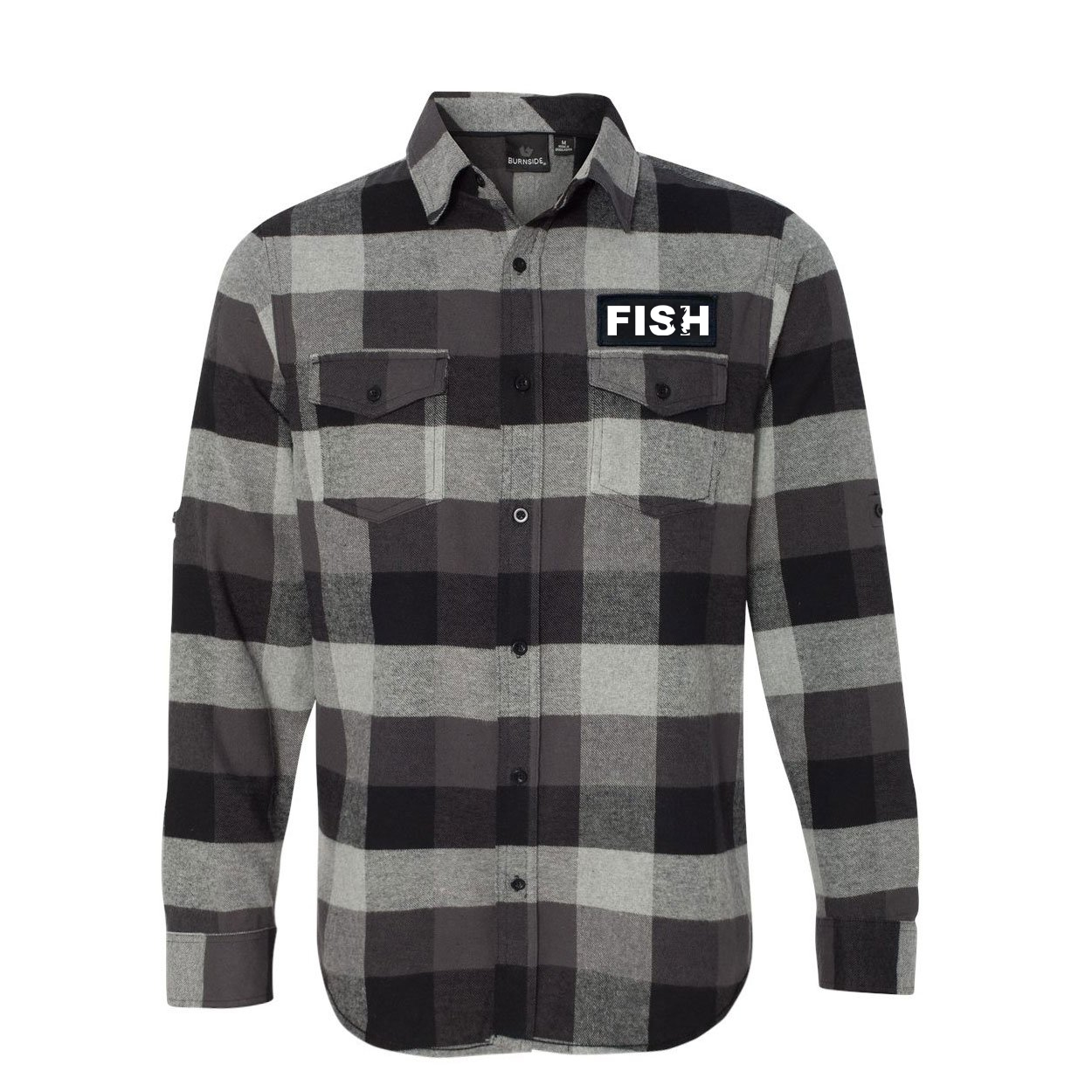 Fish Catch Logo Classic Unisex Long Sleeve Woven Patch Flannel Shirt Black/Gray (White Logo)