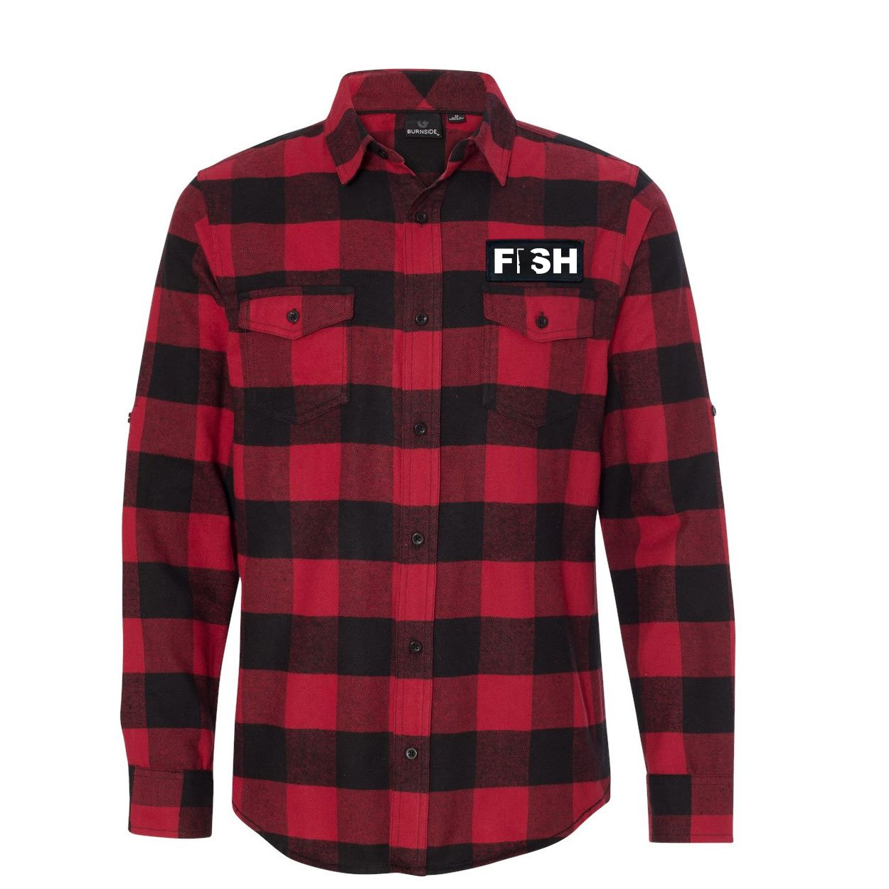 Fish Minnesota Classic Unisex Long Sleeve Woven Patch Flannel Shirt Red/Black Buffalo (White Logo)