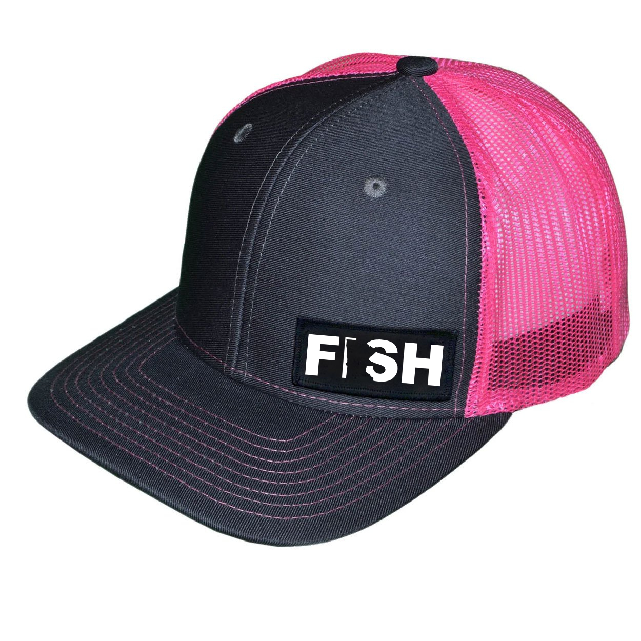 Fish Minnesota Night Out Woven Patch Snapback Trucker Hat Dark Gray/Neon Pink (White Logo)