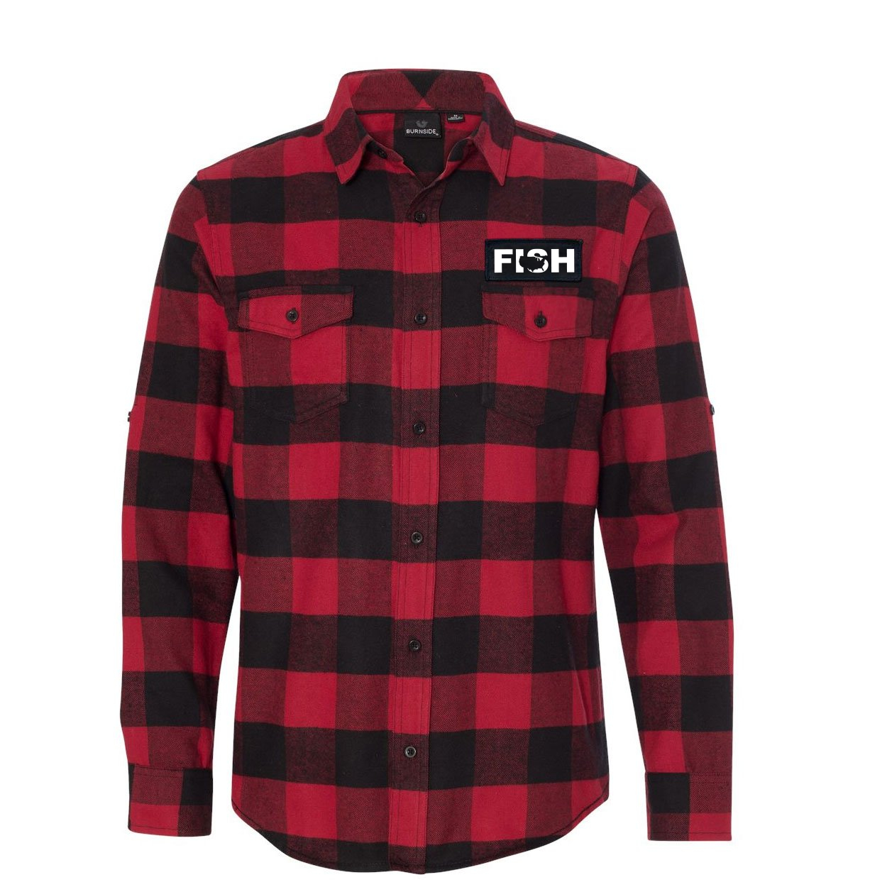 Fish United States Classic Unisex Long Sleeve Woven Patch Flannel Shirt Red/Black Buffalo (White Logo)