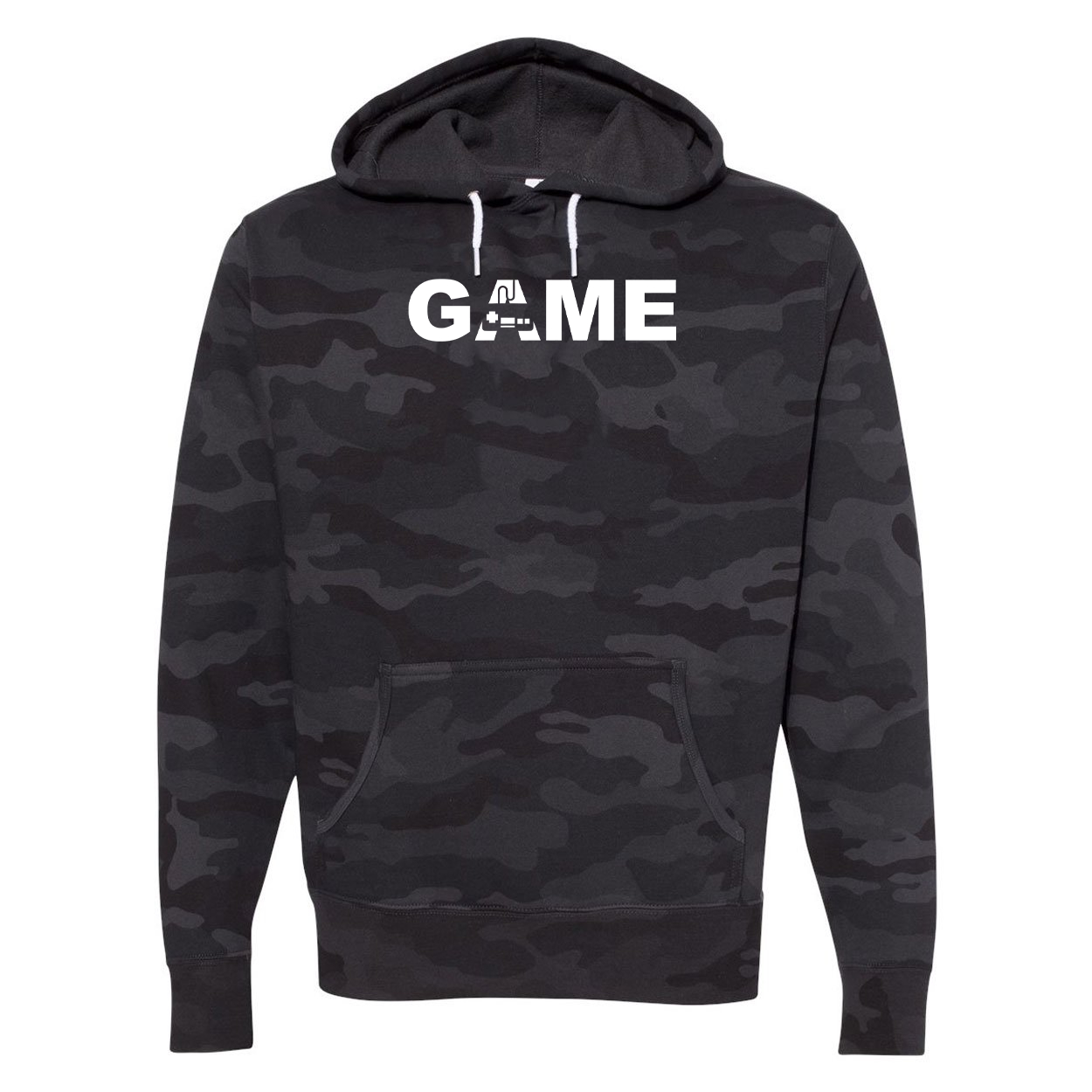 Game Controller Logo Classic Unisex Hooded Sweatshirt Black Camo (White Logo)