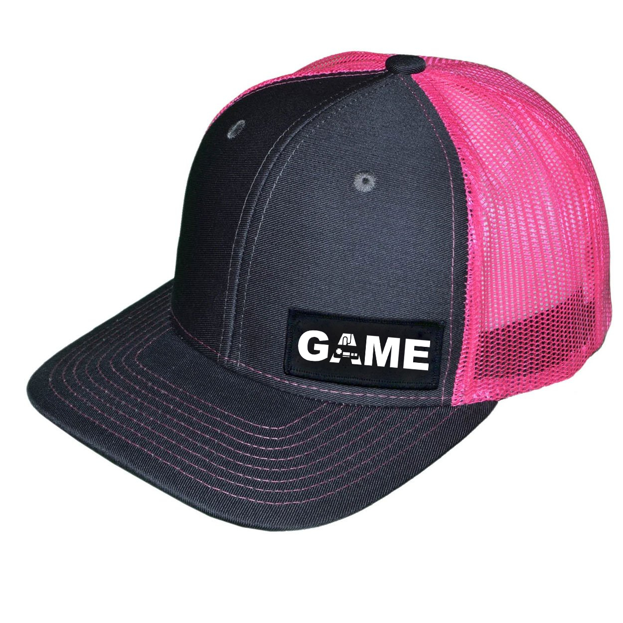 Game Controller Logo Night Out Woven Patch Snapback Trucker Hat Dark Gray/Neon Pink (White Logo)