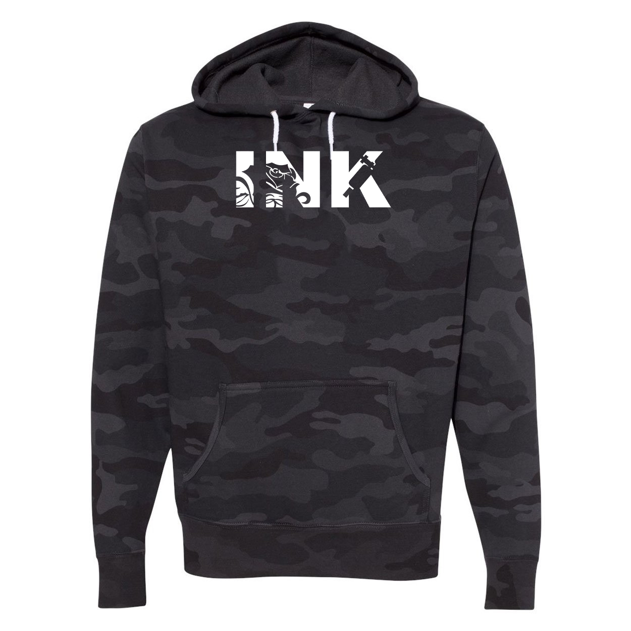 Ink Tattoo Logo Classic Unisex Hooded Sweatshirt Black Camo (White Logo)