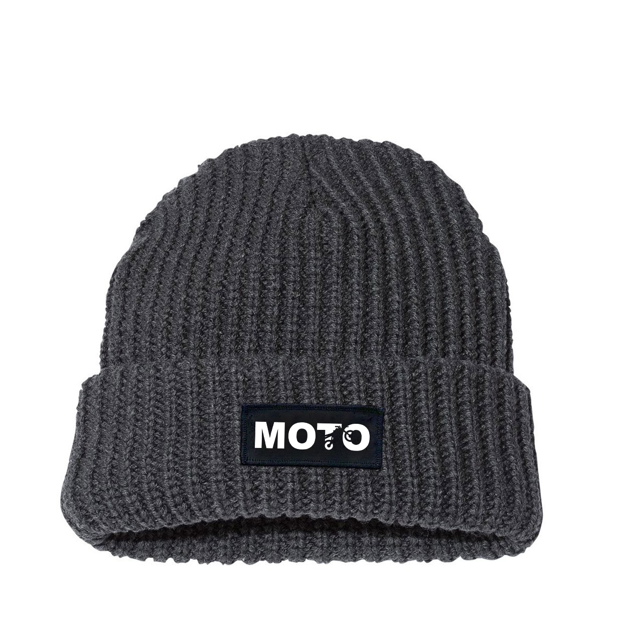 Moto Wheelie Logo Night Out Woven Patch Roll Up Jumbo Chunky Knit Beanie Charcoal (White Logo)