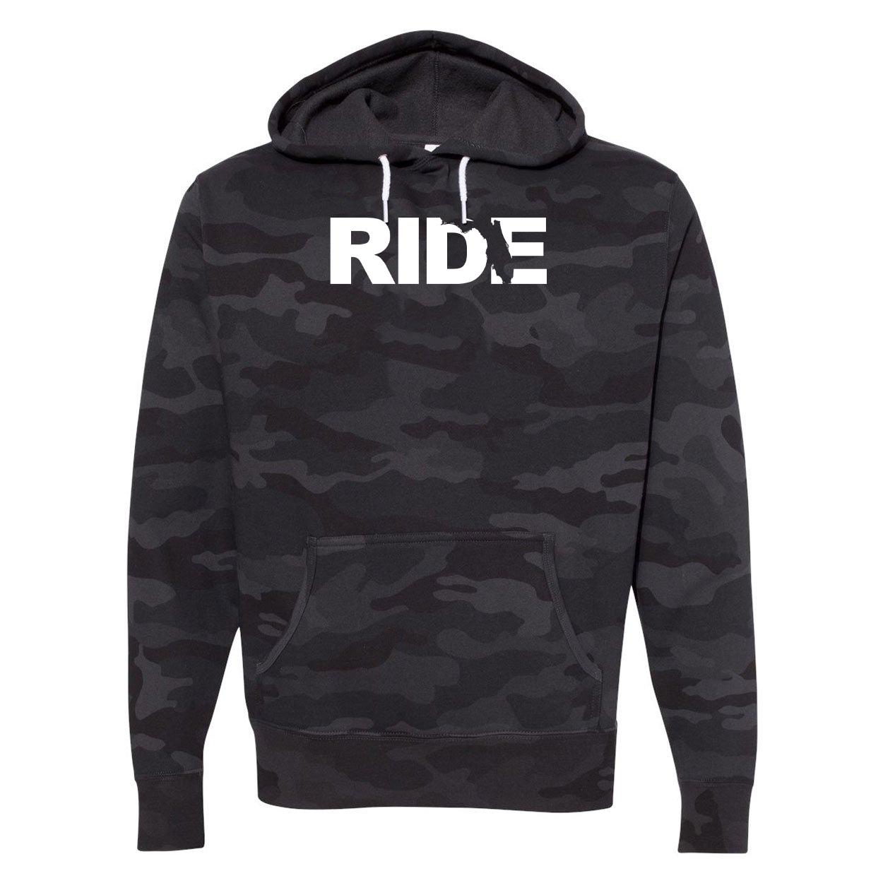 Ride Florida Classic Unisex Hooded Sweatshirt Black Camo (White Logo)