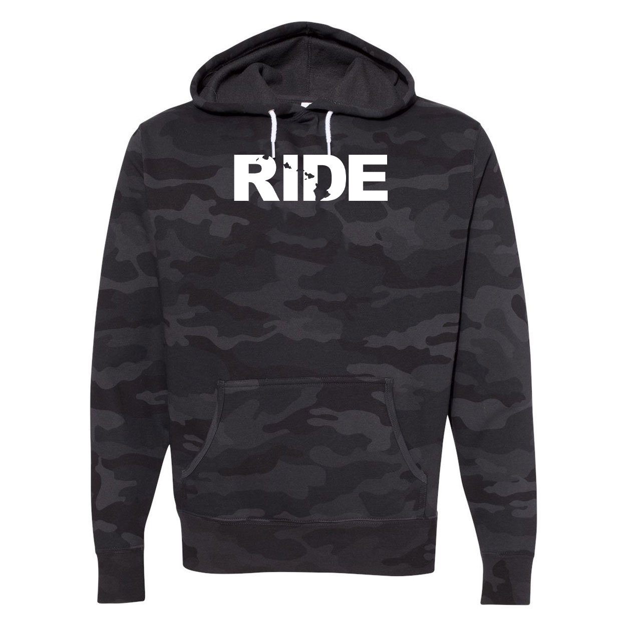 Ride Hawaii Classic Unisex Hooded Sweatshirt Black Camo (White Logo)