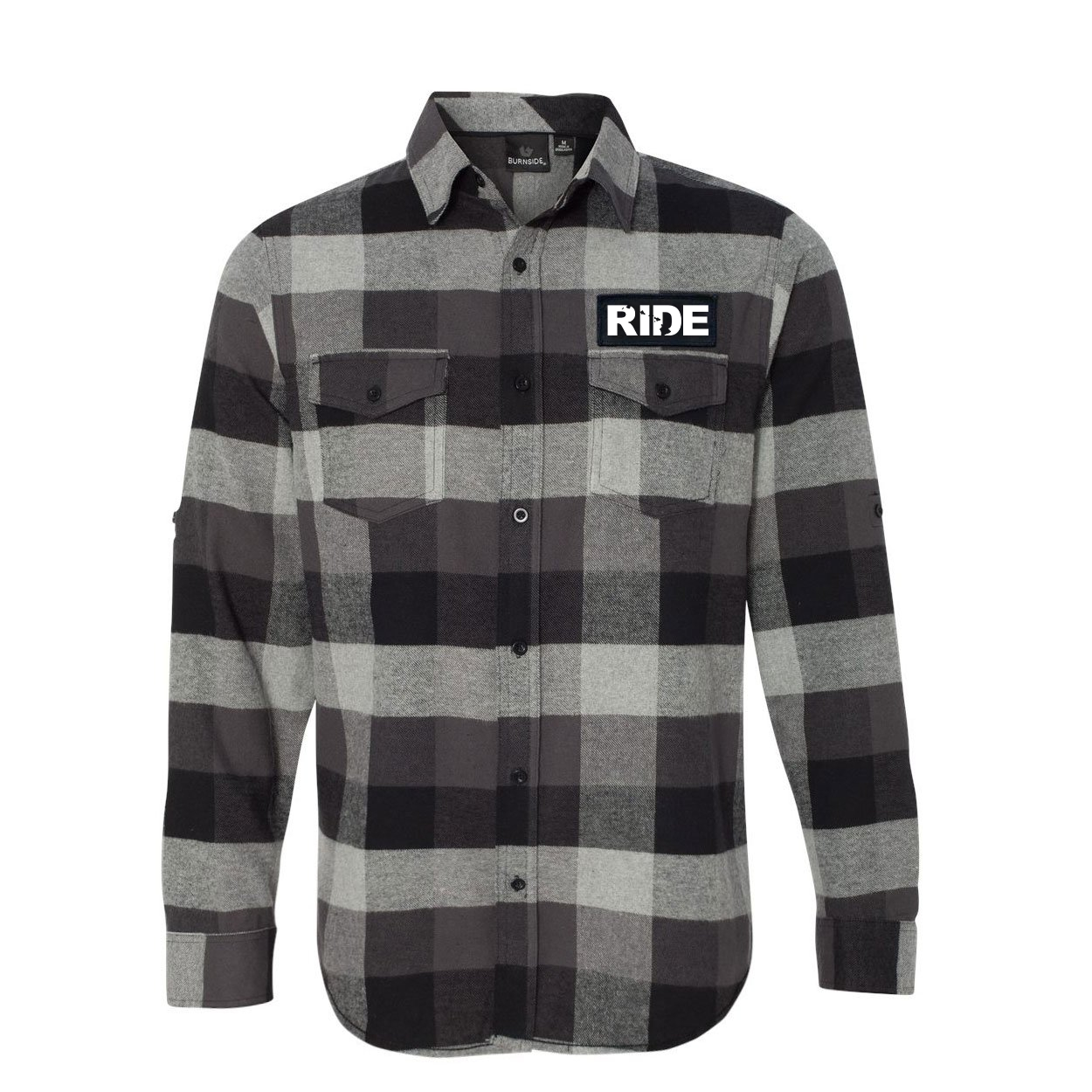 Ride Hawaii Classic Unisex Long Sleeve Woven Patch Flannel Shirt Black/Gray (White Logo)