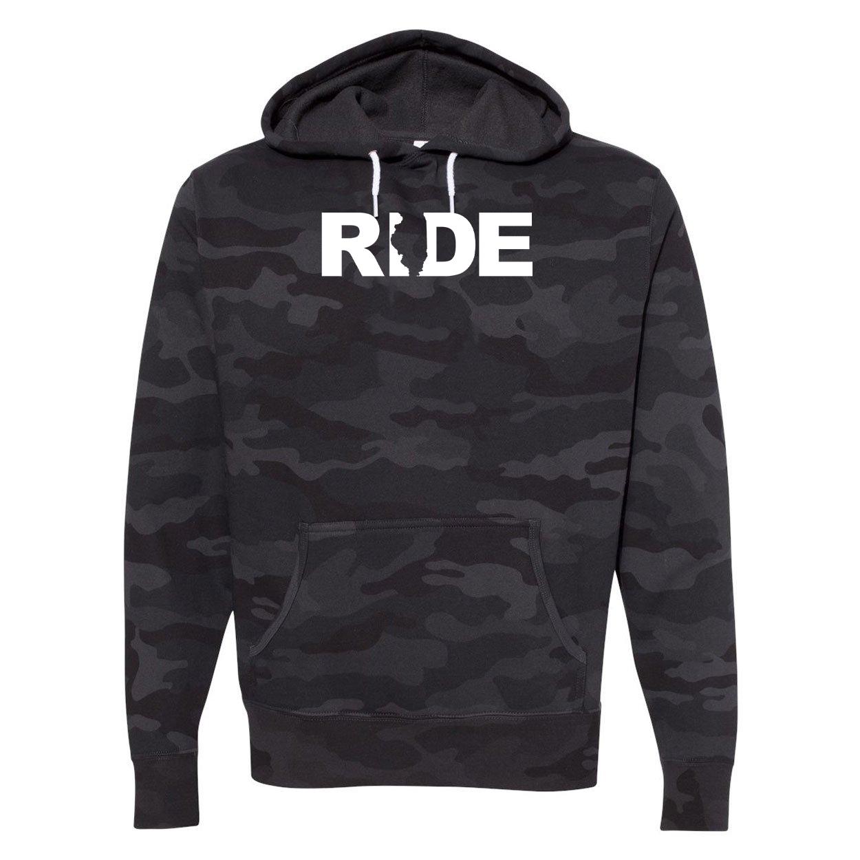 Ride Illinois Classic Unisex Hooded Sweatshirt Black Camo (White Logo)