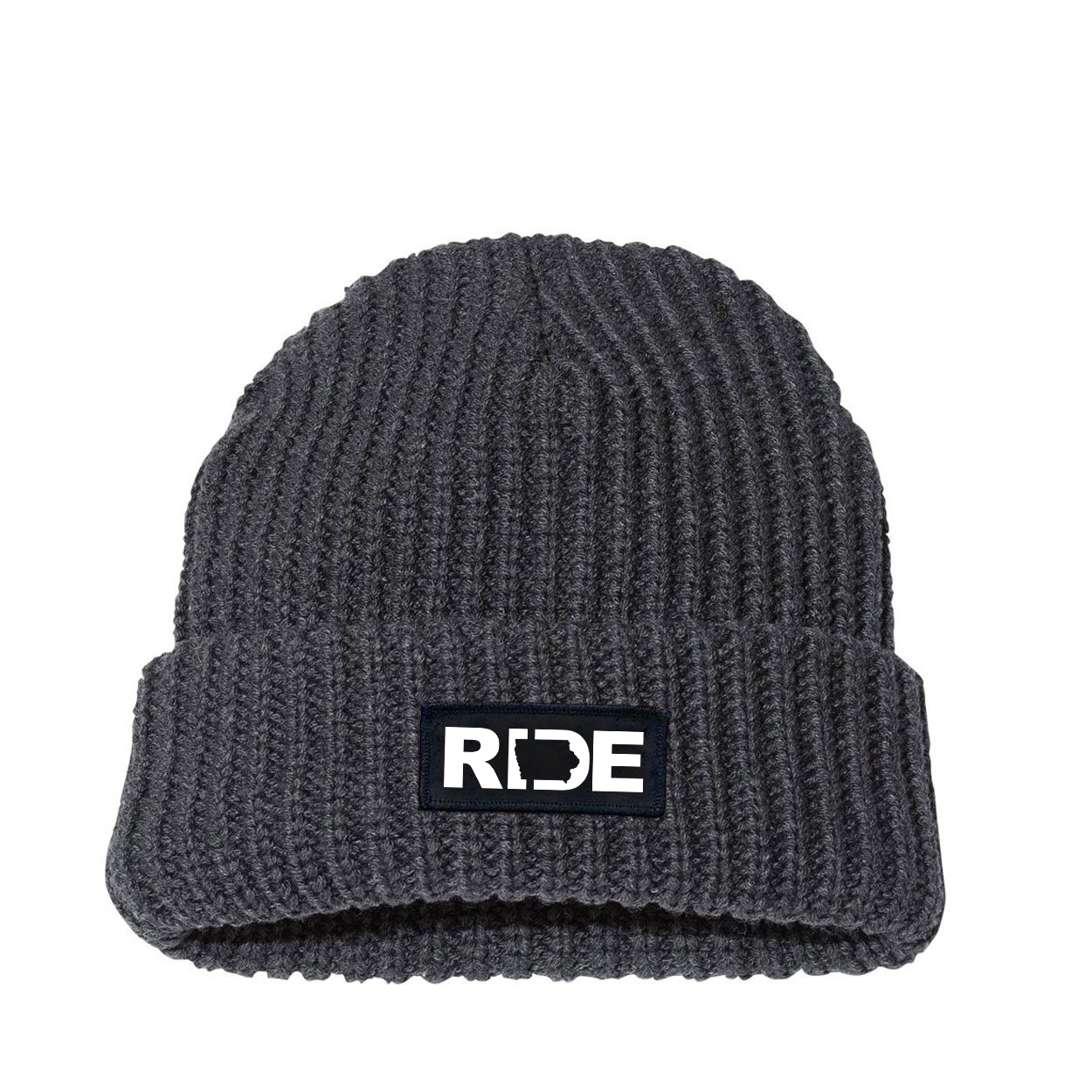 Ride Iowa Night Out Woven Patch Roll Up Jumbo Chunky Knit Beanie Charcoal (White Logo)
