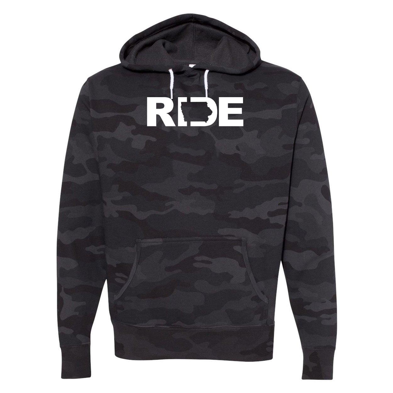 Ride Iowa Classic Unisex Hooded Sweatshirt Black Camo (White Logo)