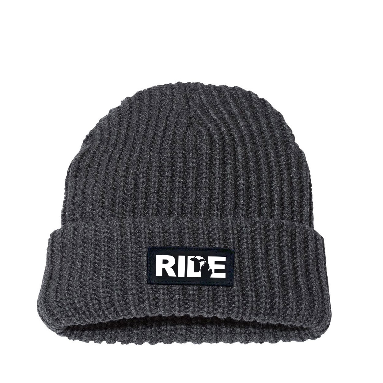 Ride Michigan Night Out Woven Patch Roll Up Jumbo Chunky Knit Beanie Charcoal (White Logo)