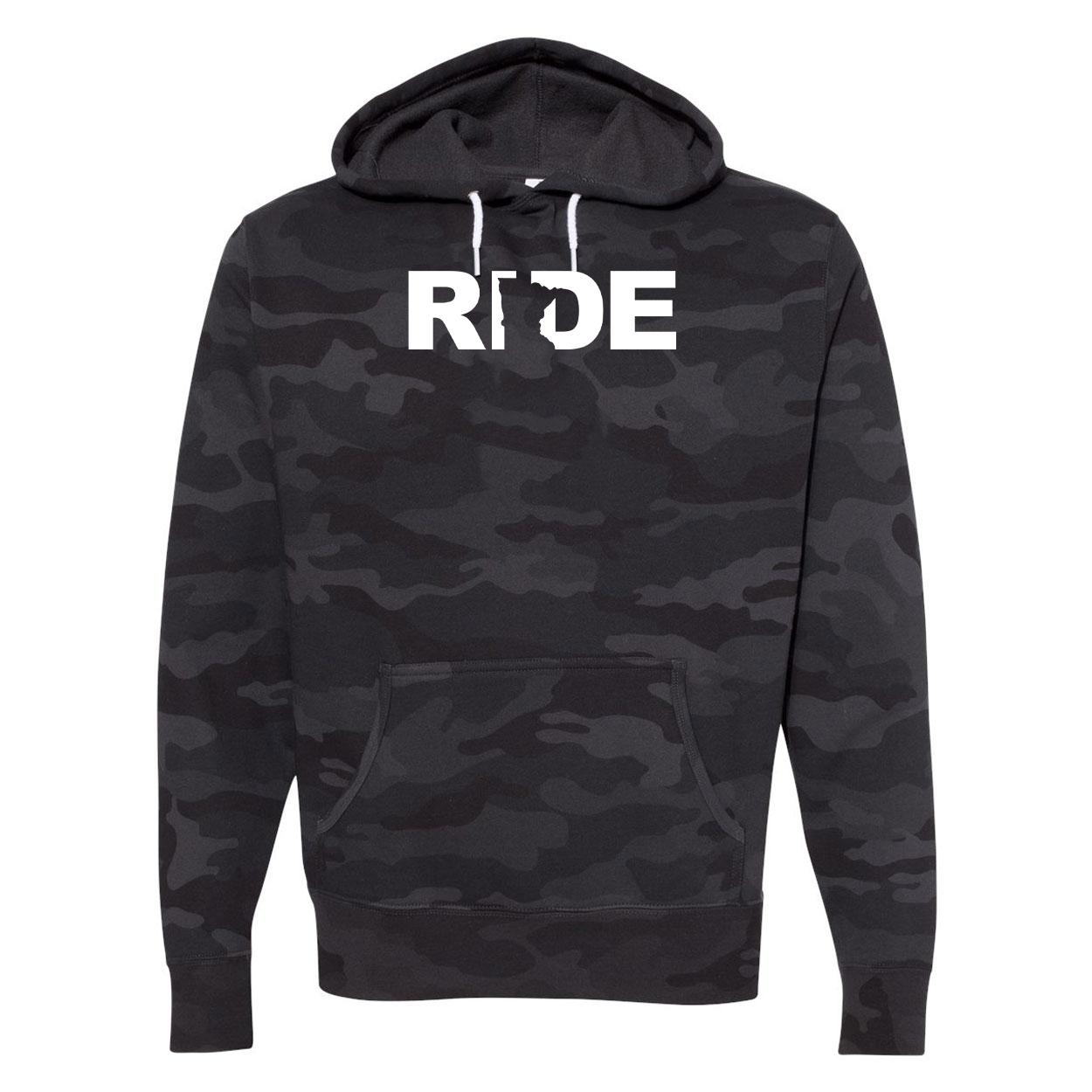 Ride Minnesota Classic Unisex Hooded Sweatshirt Black Camo (White Logo)