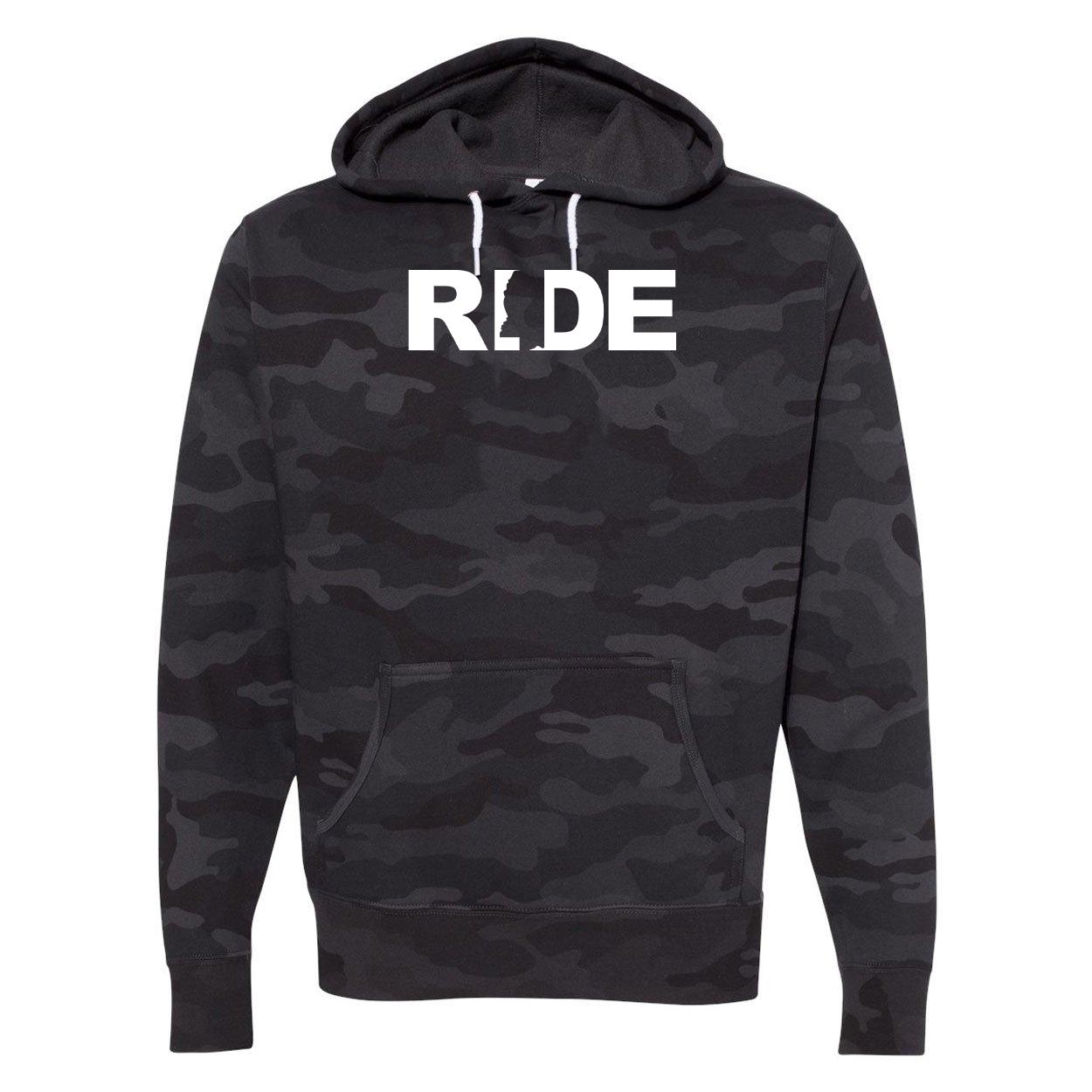 Ride Mississippi Classic Unisex Hooded Sweatshirt Black Camo (White Logo)