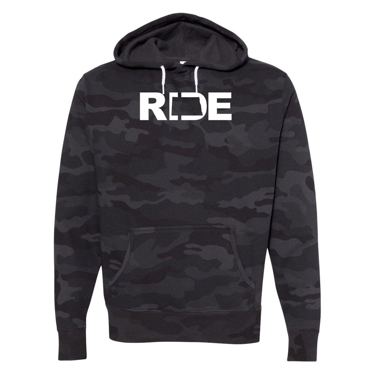 Ride North Dakota Classic Unisex Hooded Sweatshirt Black Camo (White Logo)