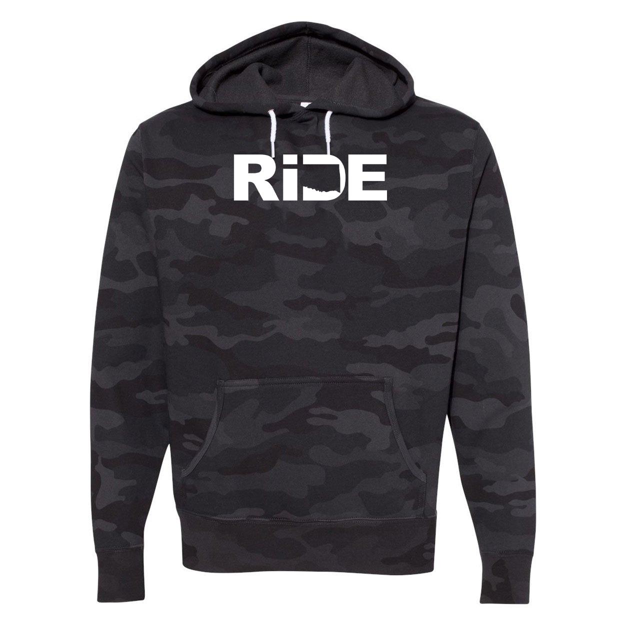 Ride Oklahoma Classic Unisex Hooded Sweatshirt Black Camo (White Logo)