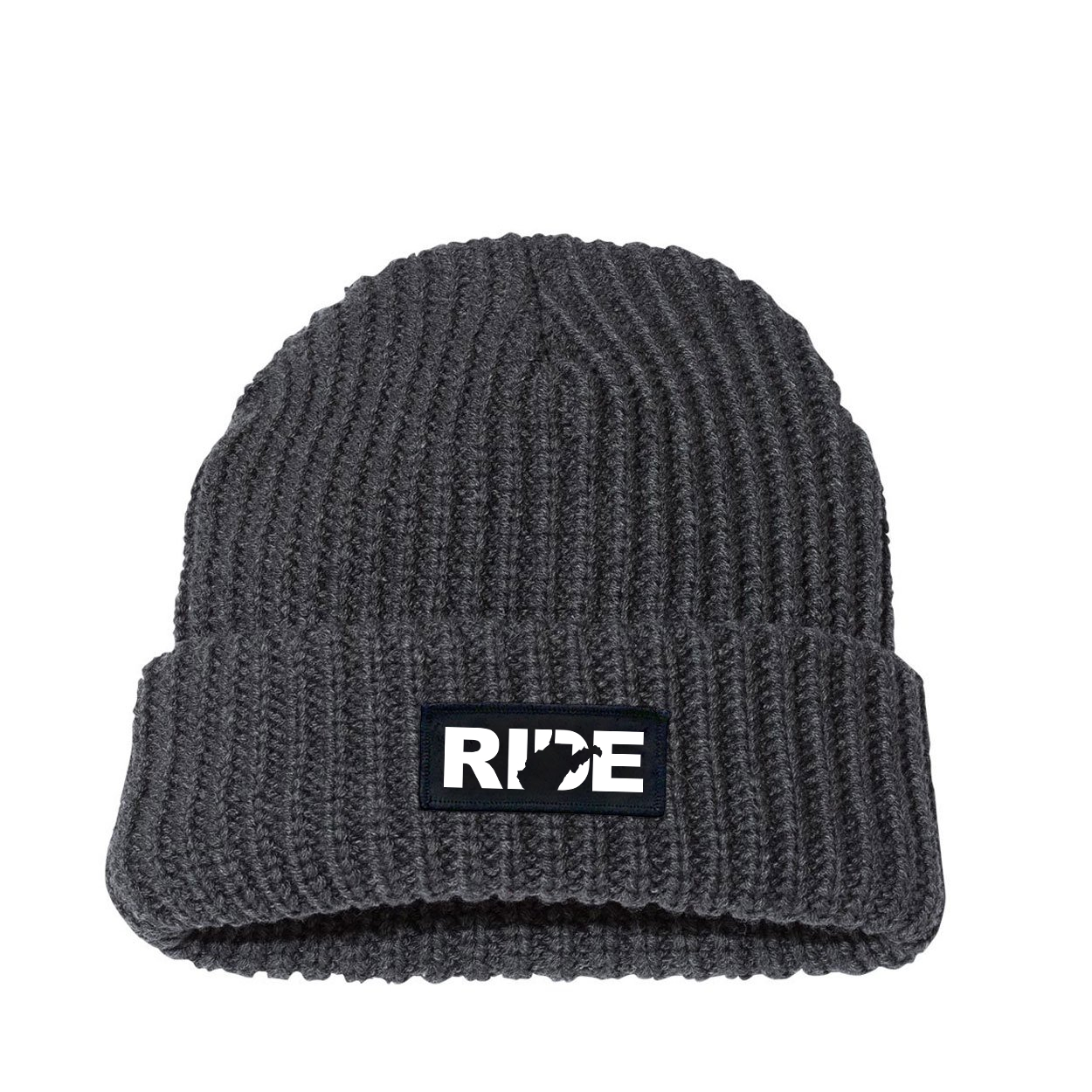 Ride West Virginia Night Out Woven Patch Roll Up Jumbo Chunky Knit Beanie Charcoal (White Logo)